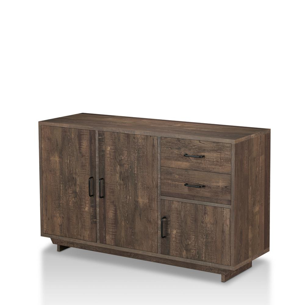 Furniture Of America Antsirabe Reclaimed Oak Buffet Server With Contemporary Wooden Buffets With One Side Door Storage Cabinets And Two Drawers (View 13 of 30)