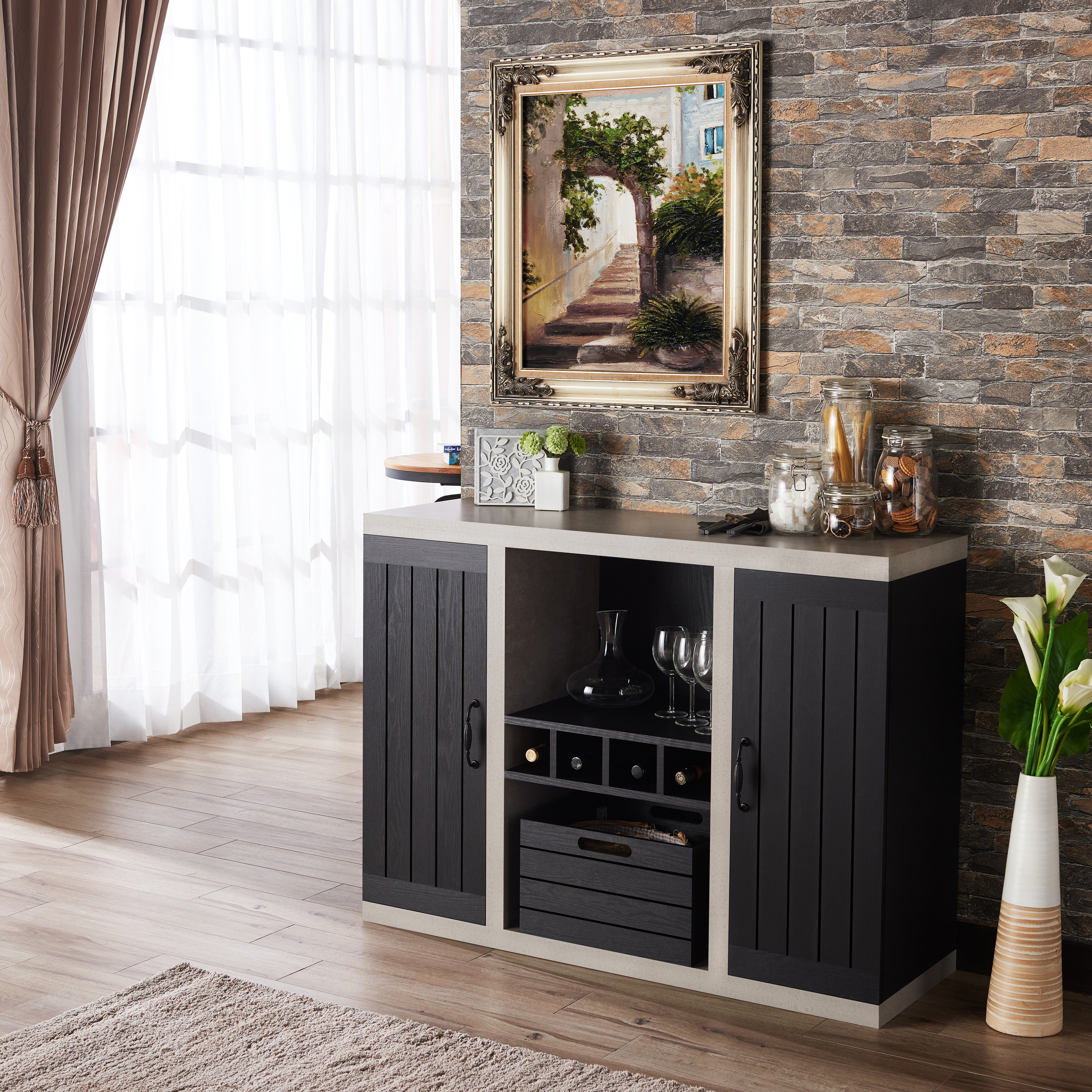 Furniture Of America Chelsean Industrial Cement-Like Buffet Sideboard in Industrial Cement-Like Buffets (Image 5 of 30)