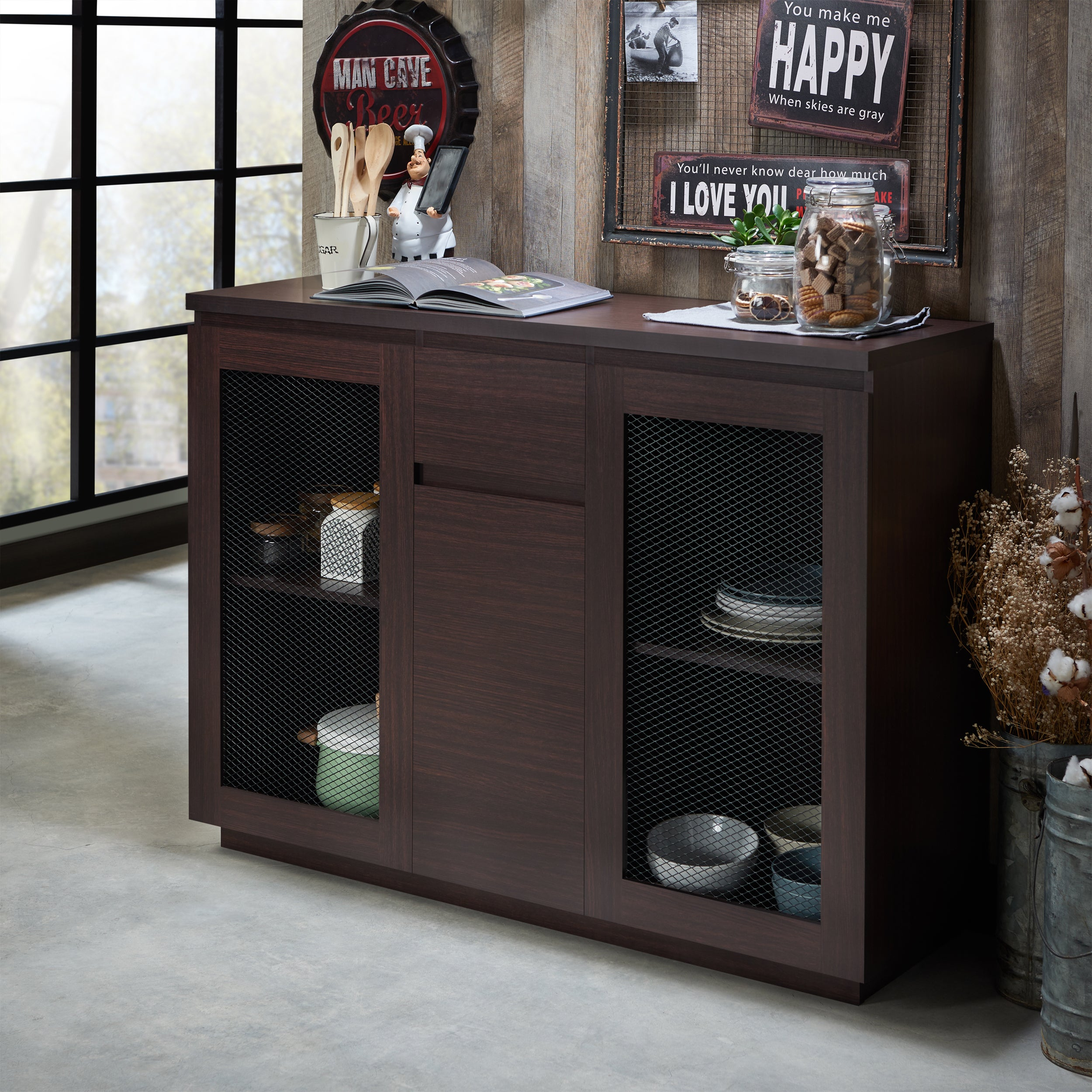 Furniture Of America Darwen Contemporary Multi Storage Dining Buffet In Contemporary Multi Storage Dining Buffets (View 6 of 30)