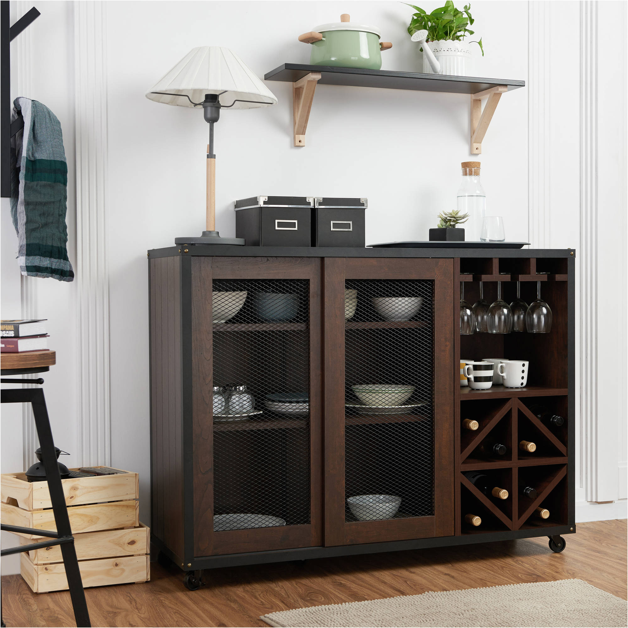 Furniture Of America Francis Industrial Multi-Storage Dining Server, Walnut for Rustic Walnut Dining Buffets (Image 13 of 30)