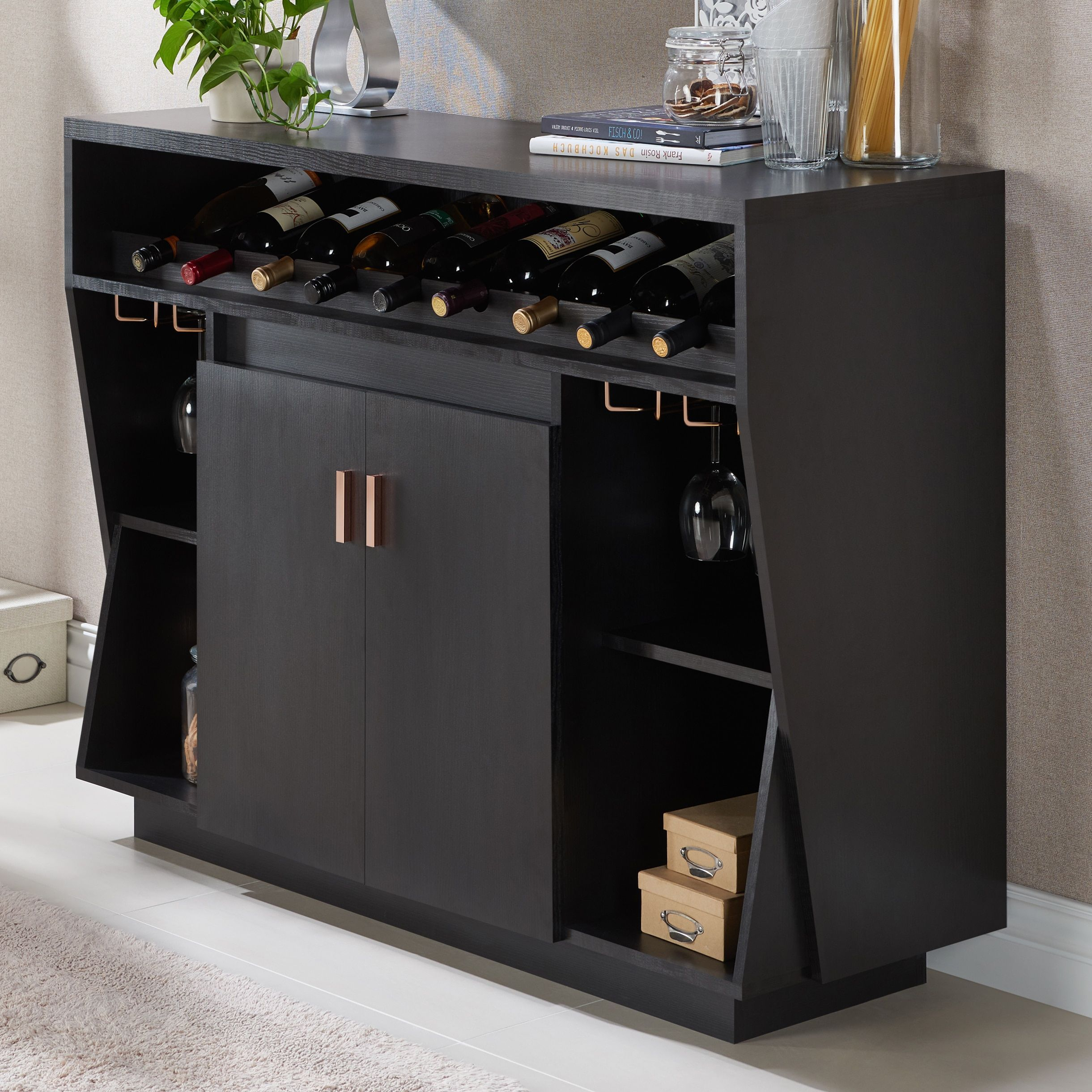 Furniture Of America Gergich Contemporary Angled Multi Regarding Contemporary Multi Storage Dining Buffets (View 14 of 30)
