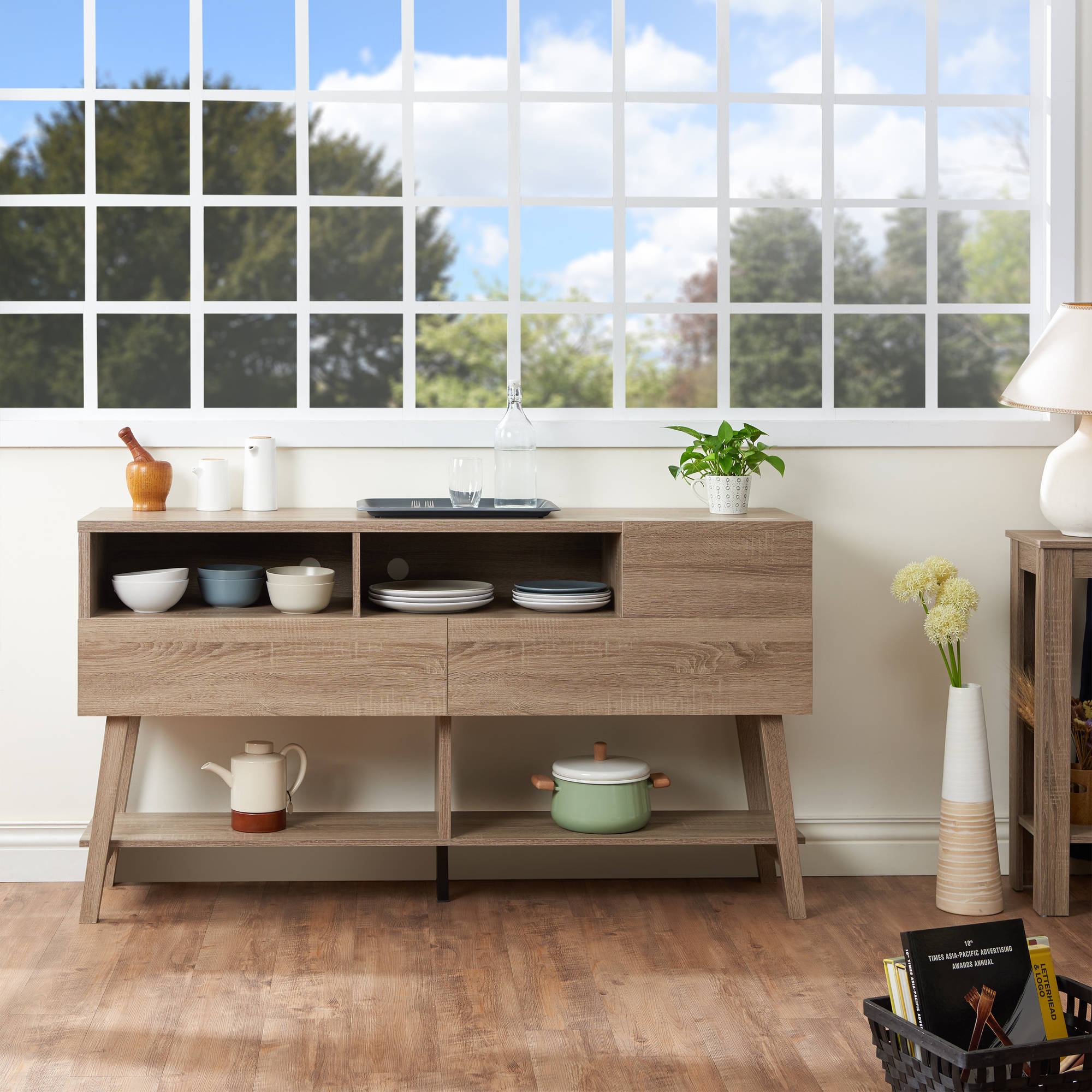 Furniture Of America Glenwood Modern Multi Storage Dining Buffet, Light Oak Regarding Contemporary Multi Storage Dining Buffets (View 18 of 30)