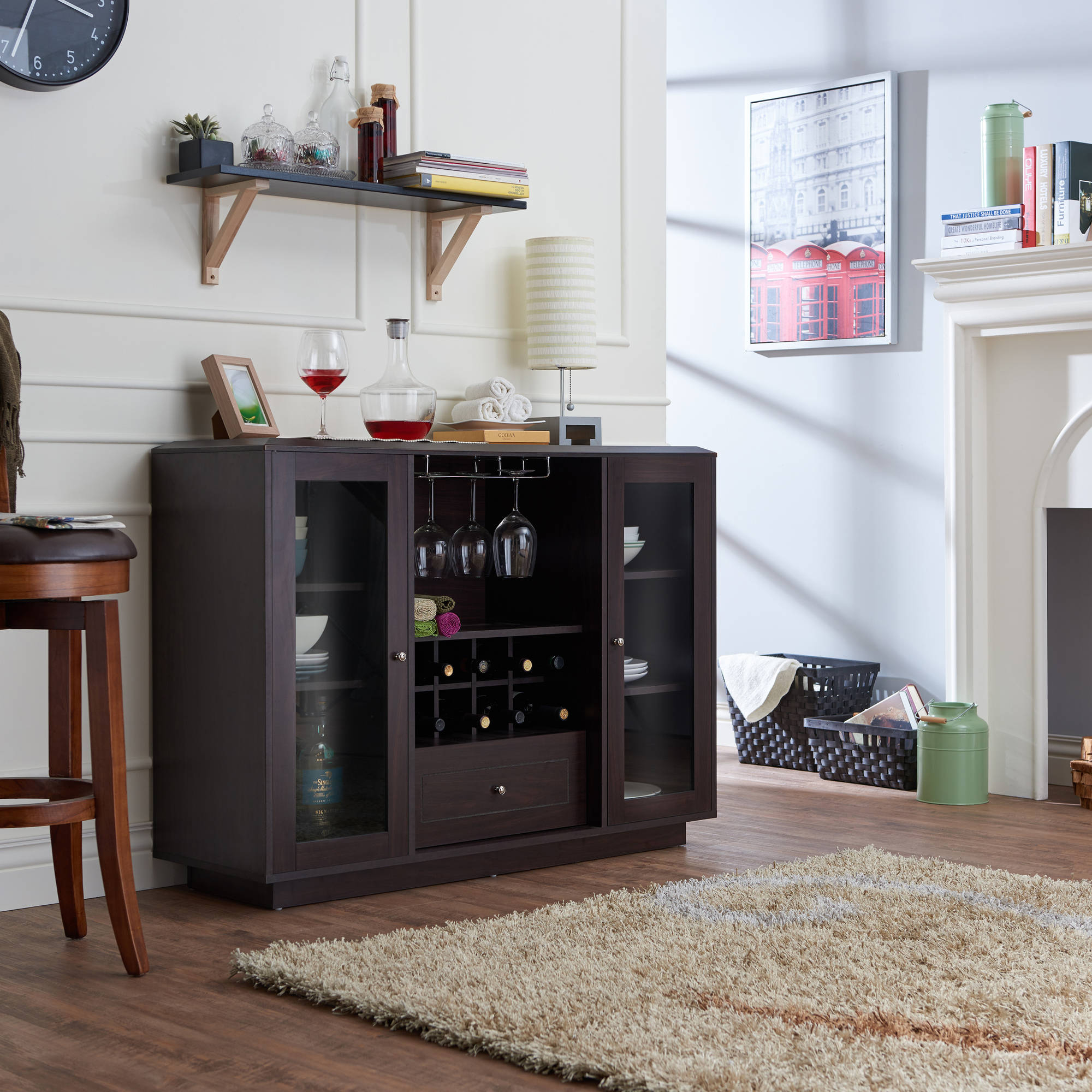 Furniture Of America Hegard Modern Multi Storage Dining Buffet, Espresso Regarding Contemporary Espresso 2 Cabinet Dining Buffets (View 10 of 30)