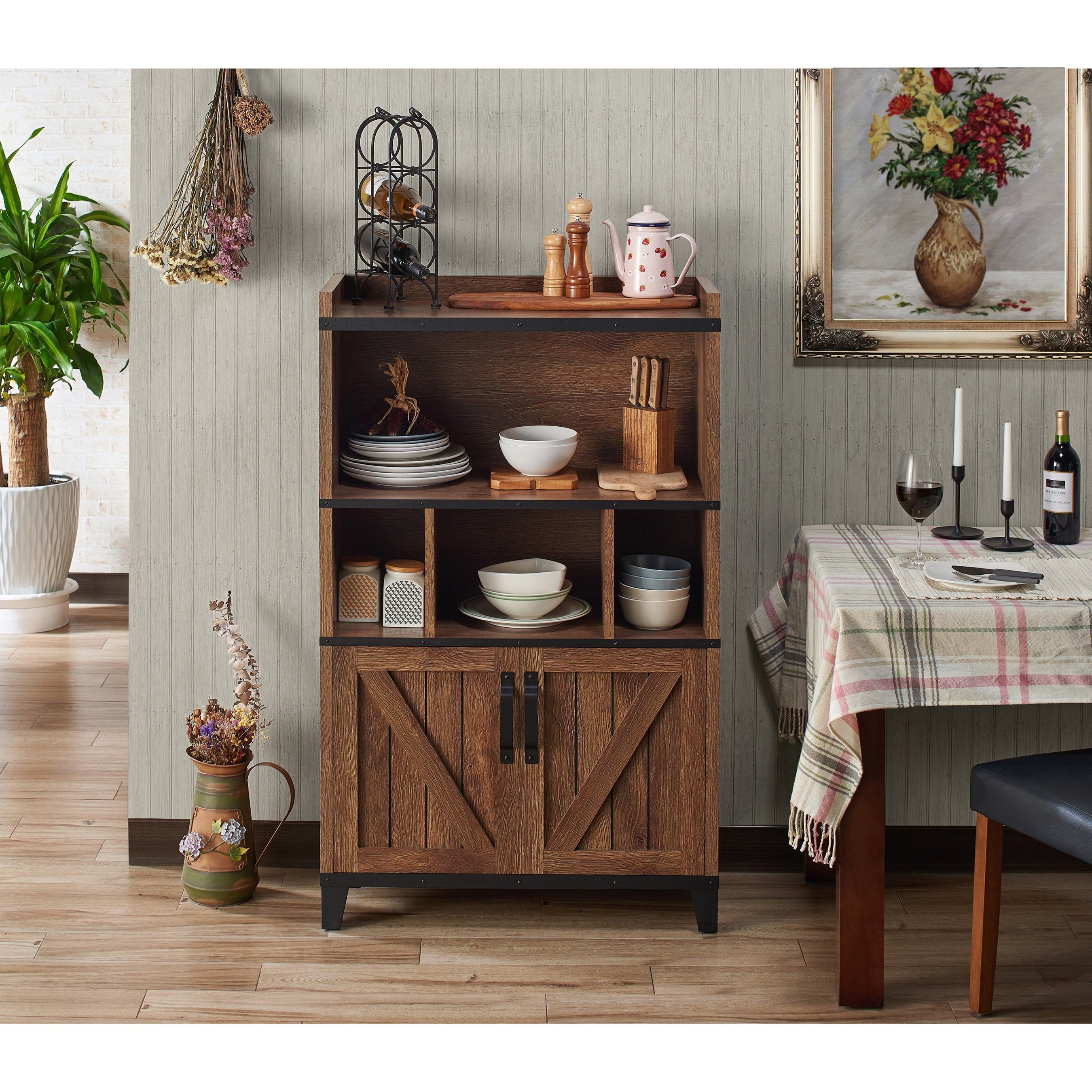 Furniture Of America Holcomb Rustic Distressed Walnut Buffet Cabinet with Rustic Walnut Dining Buffets (Image 14 of 30)