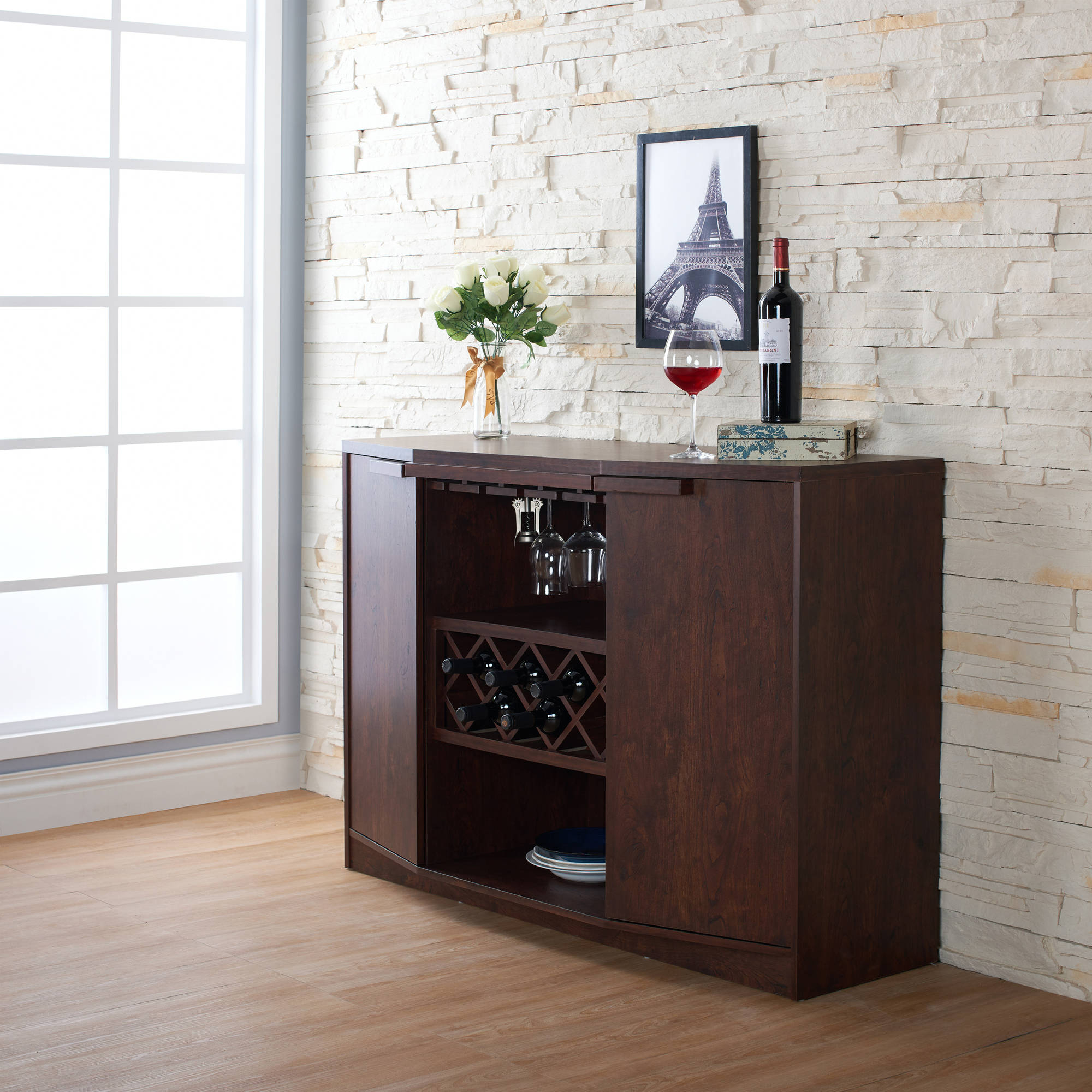 Furniture Of America Julian Modern Multi Storage Buffet, Vintage Walnut For Contemporary Multi Storage Dining Buffets (View 21 of 30)