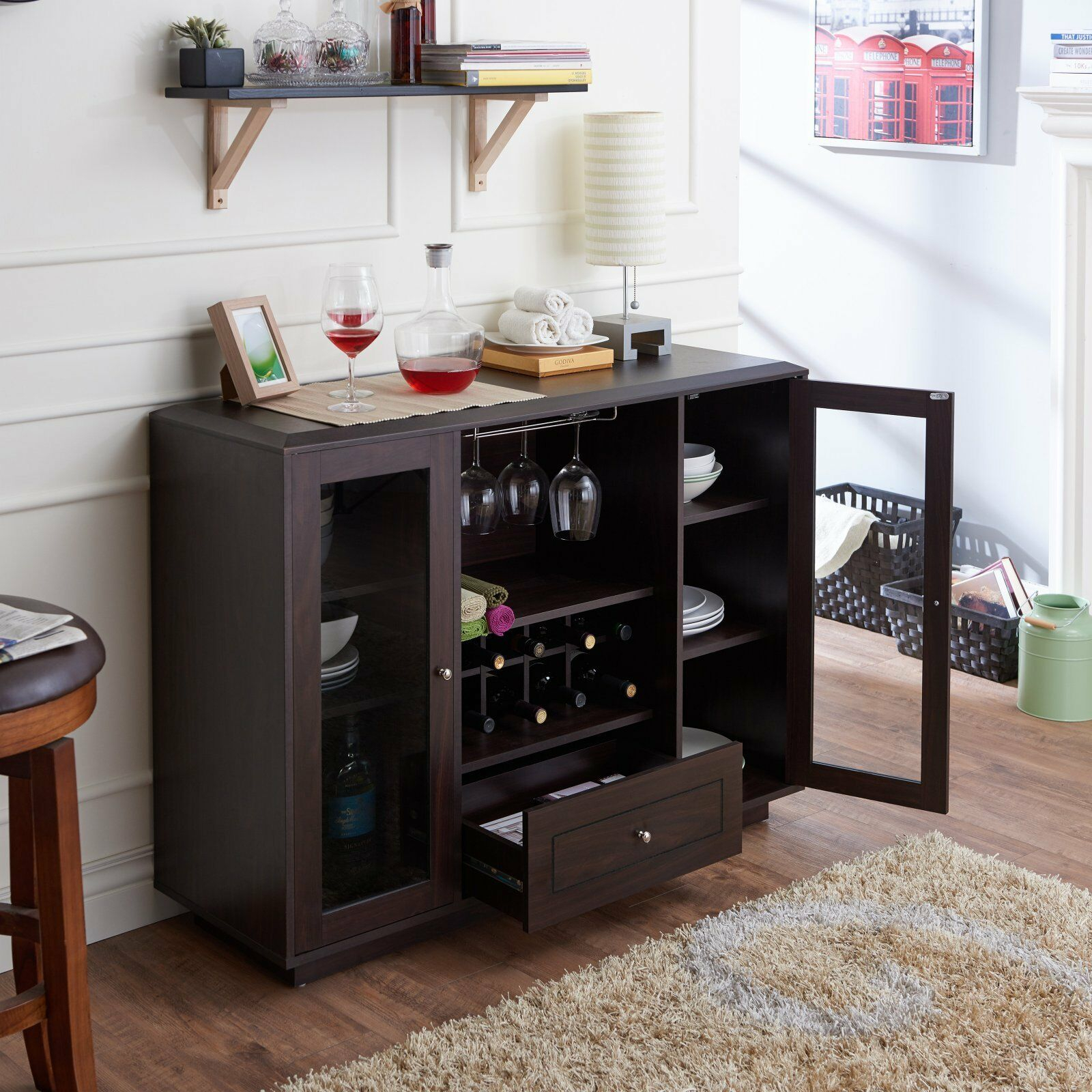 Furniture Of America Kenna Contemporary Multi-Storage Dining Buffet,  Espresso intended for Industrial Cement-Like Multi-Storage Dining Buffets (Image 15 of 30)