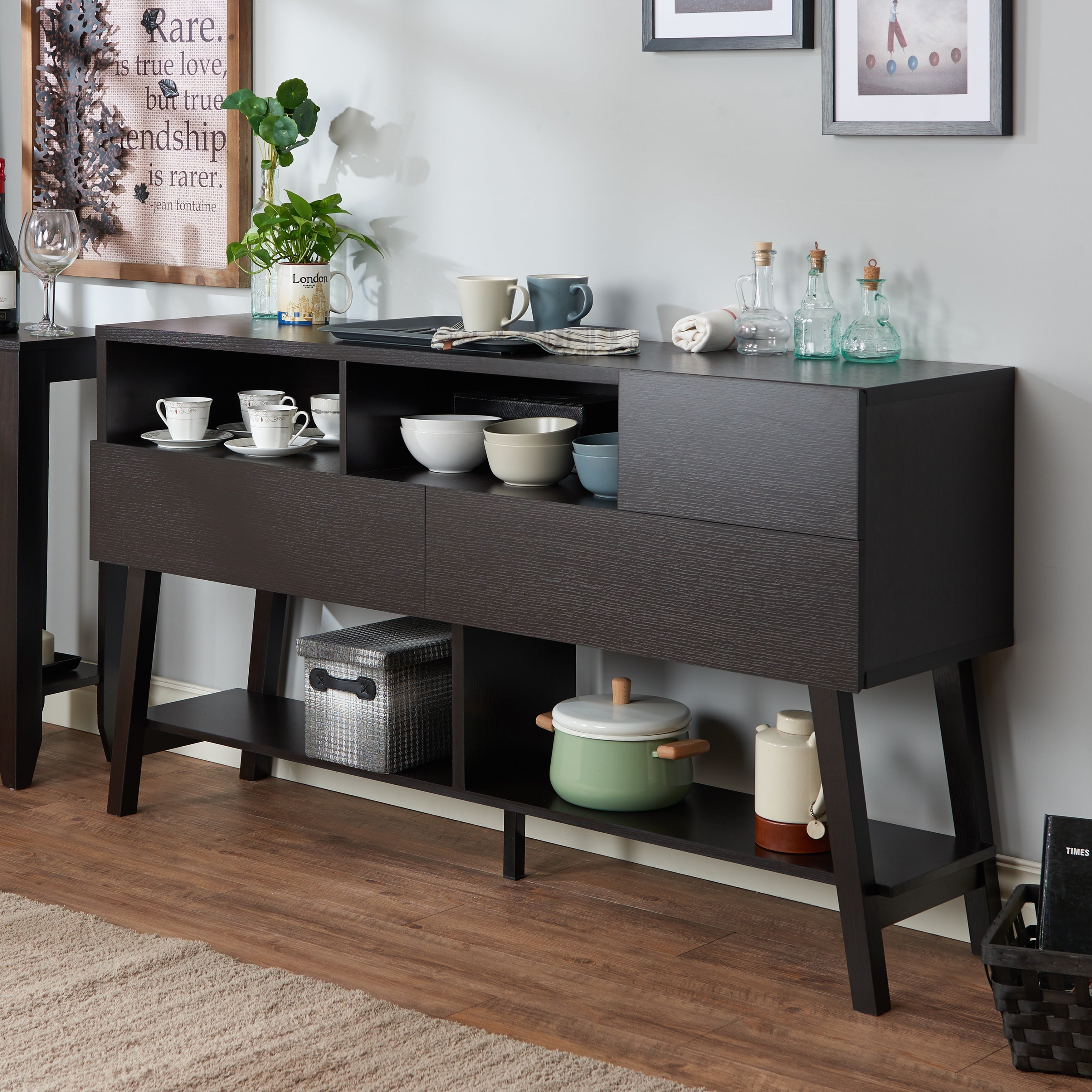 Furniture Of America Kolbie Modern 60 Inch 3 Drawer Dining Throughout Contemporary Cappuccino Dining Buffets (View 14 of 30)