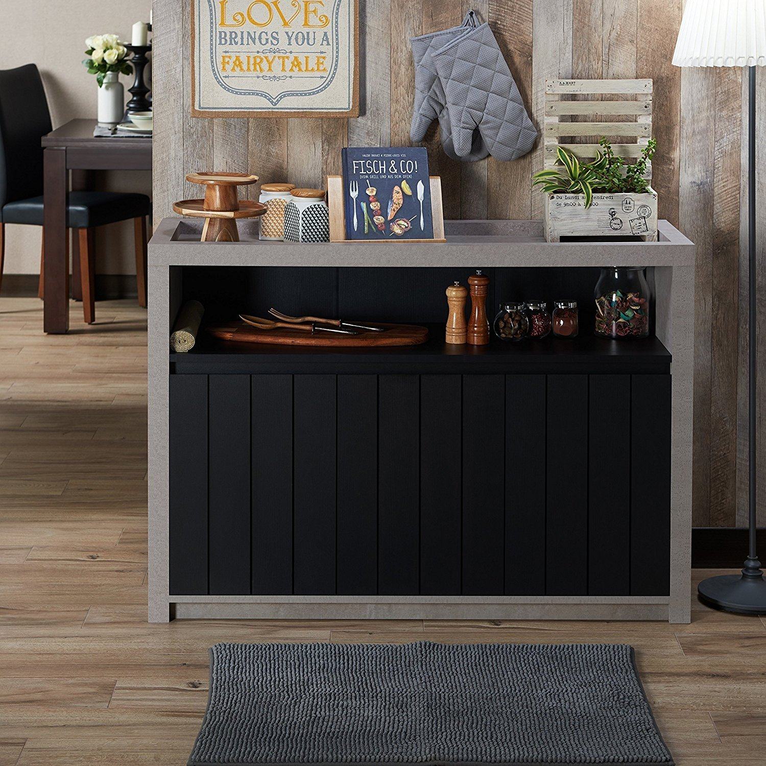 Furniture Of America Lamont Industrial Cement-Like Multi-Storage Dining  Buffet Black Black Finish with Industrial Cement-Like Multi-Storage Dining Buffets (Image 17 of 30)