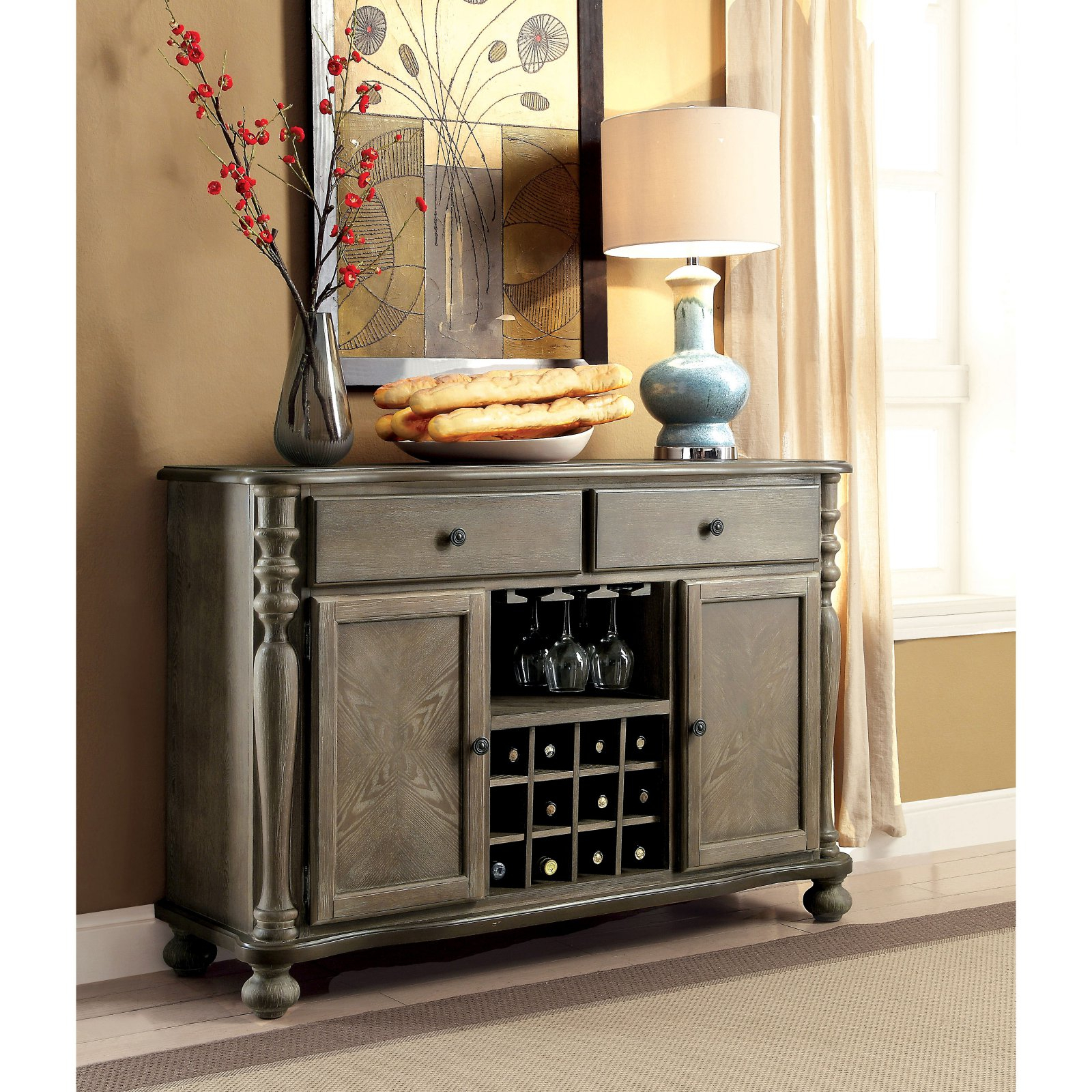 Furniture Of America Lillian Traditional Server | Products Pertaining To Adelbert Credenzas (Image 10 of 30)