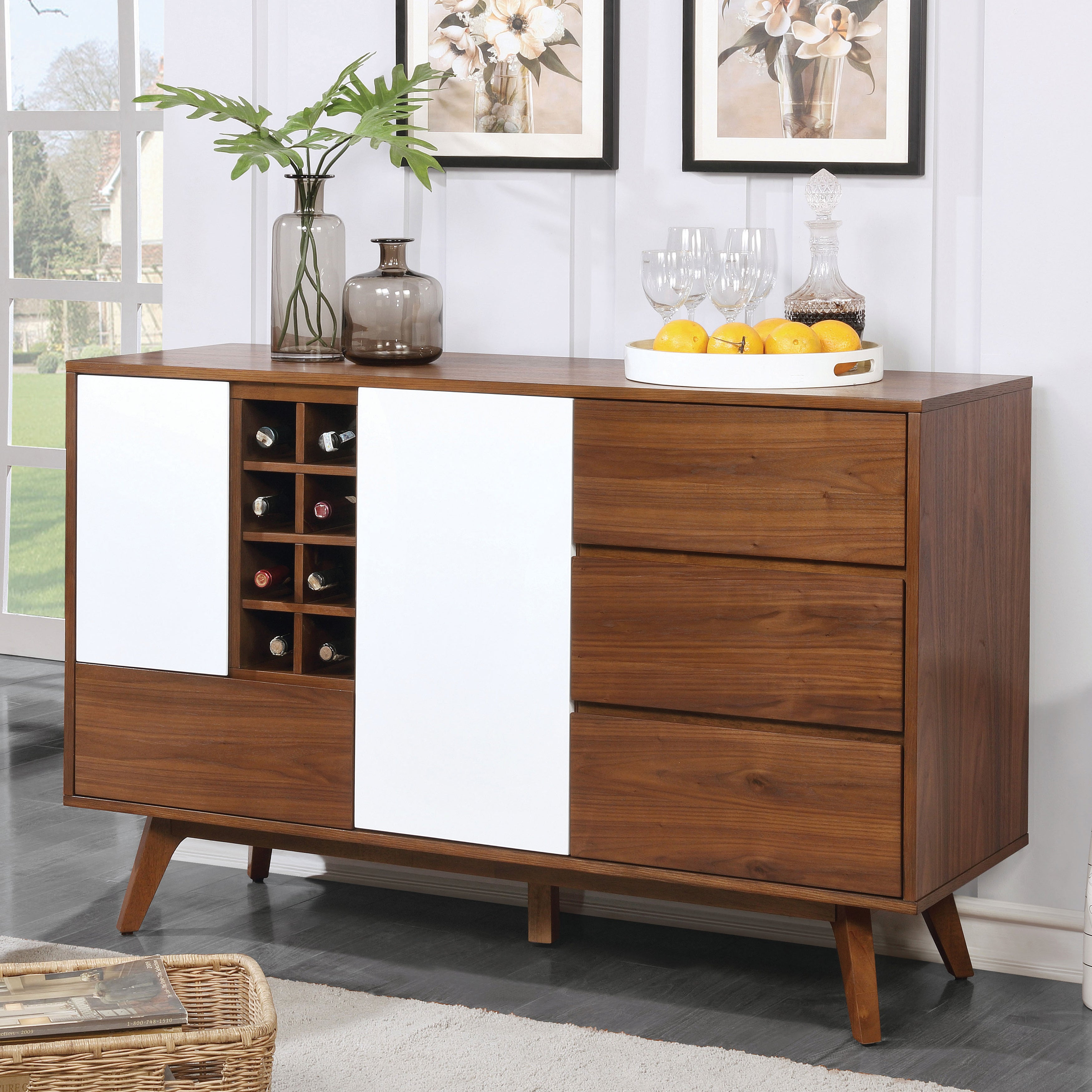 Furniture Of America Liman Mid Century Modern 2 Tone Oak/white Multi Storage Buffet/wine Cabinet Within Contemporary Style Wooden Buffets With Two Side Door Storage Cabinets (View 13 of 30)