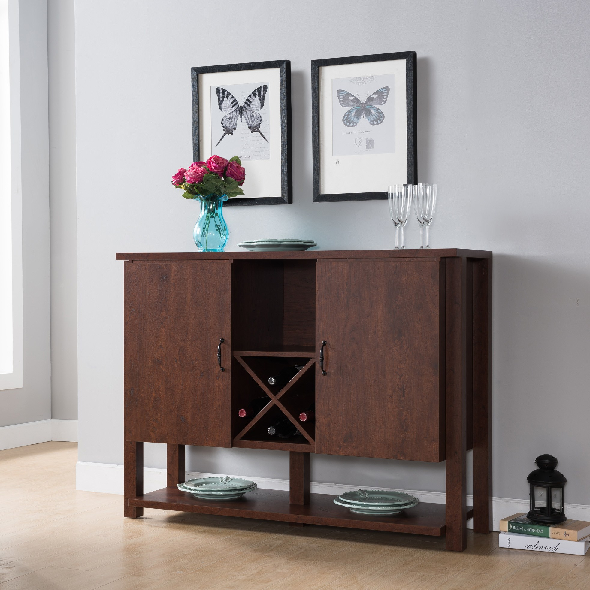 Furniture Of America Michaelson Rustic Walnut Dining Server - N/a inside Rustic Walnut Dining Buffets (Image 15 of 30)