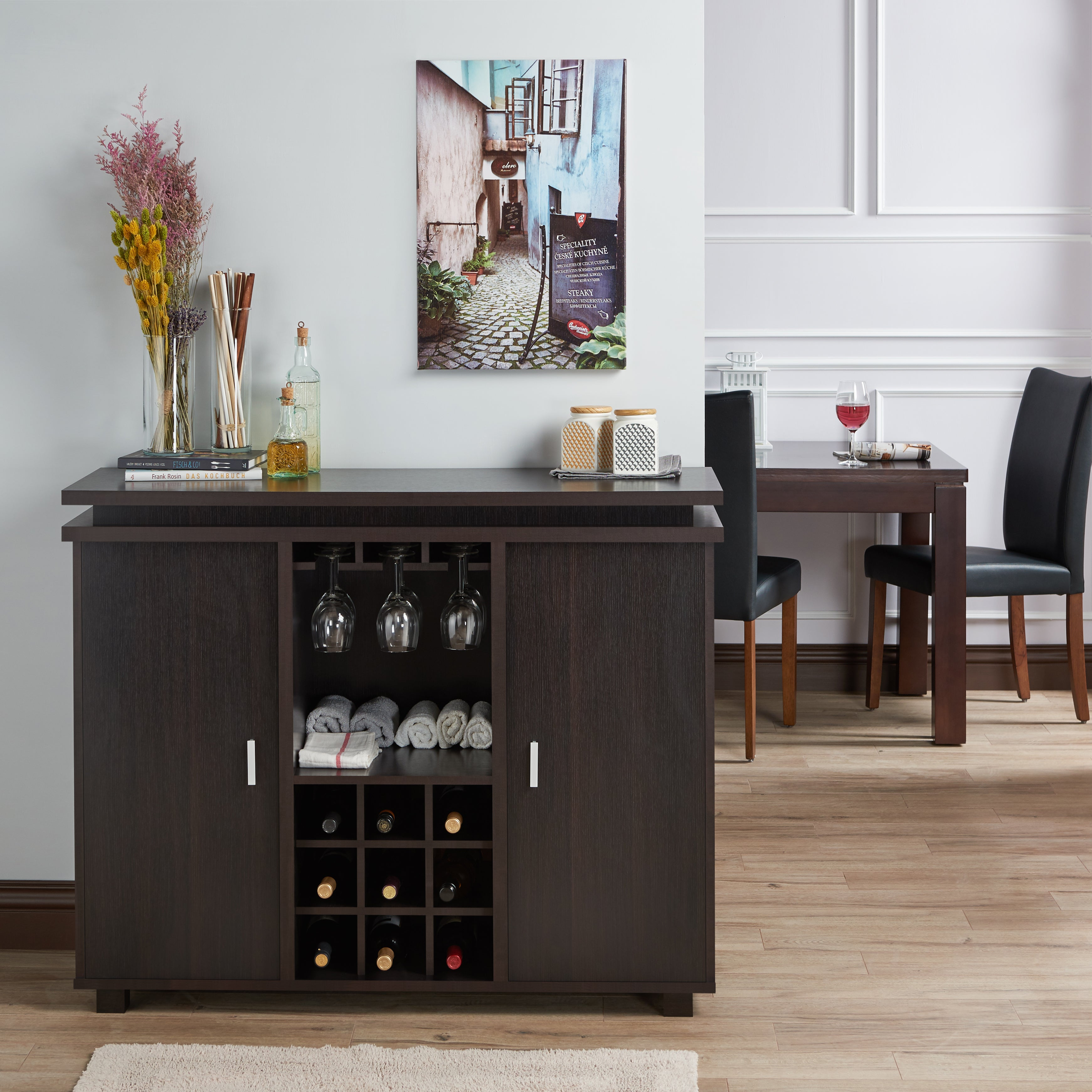 Furniture Of America Mirande Contemporary Espresso Dining Buffet With Wine Storage With Contemporary Espresso 2 Cabinet Dining Buffets (View 11 of 30)