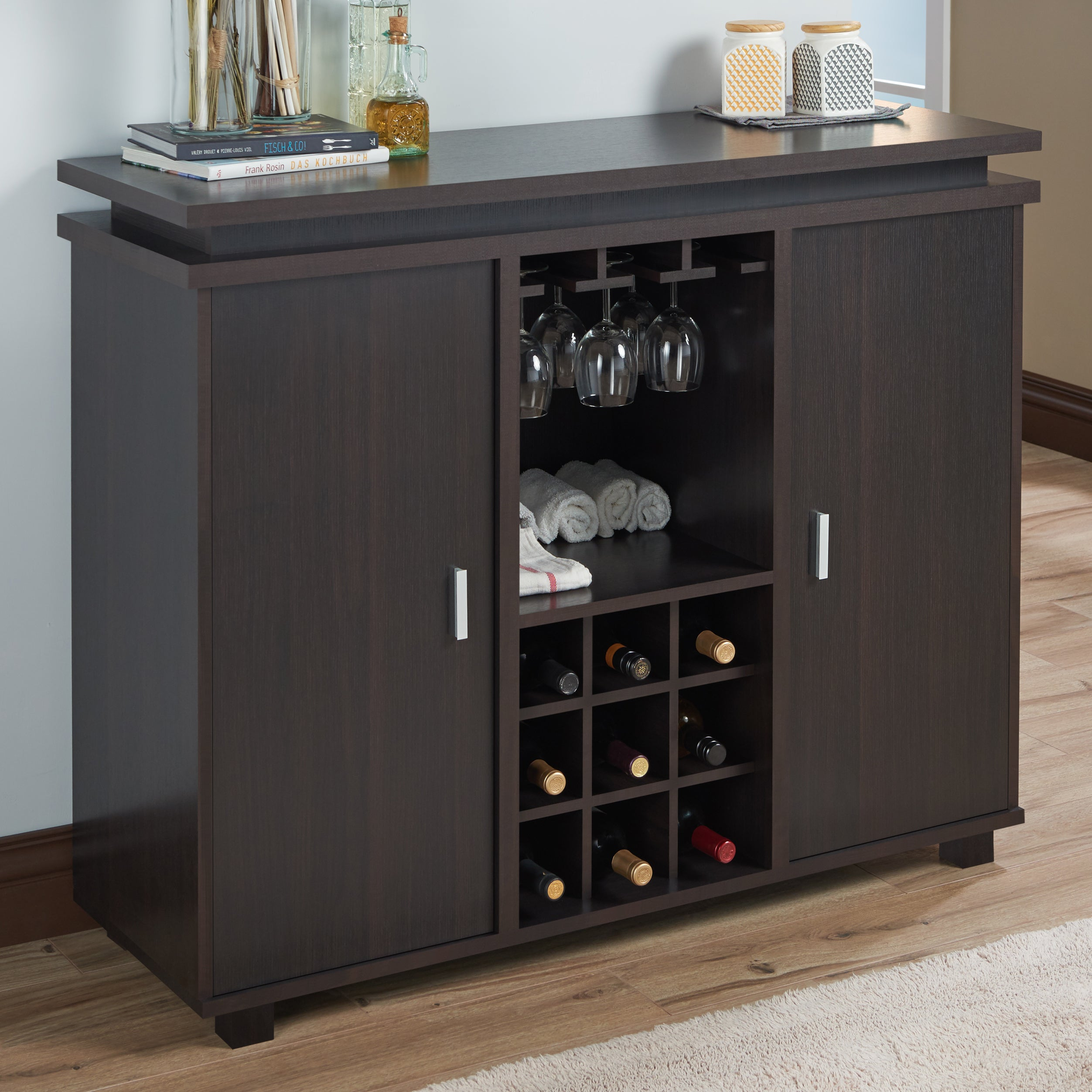 Furniture Of America Mirande Contemporary Espresso Dining Buffet With Wine Storage With Contemporary Espresso Dining Buffets (View 8 of 30)