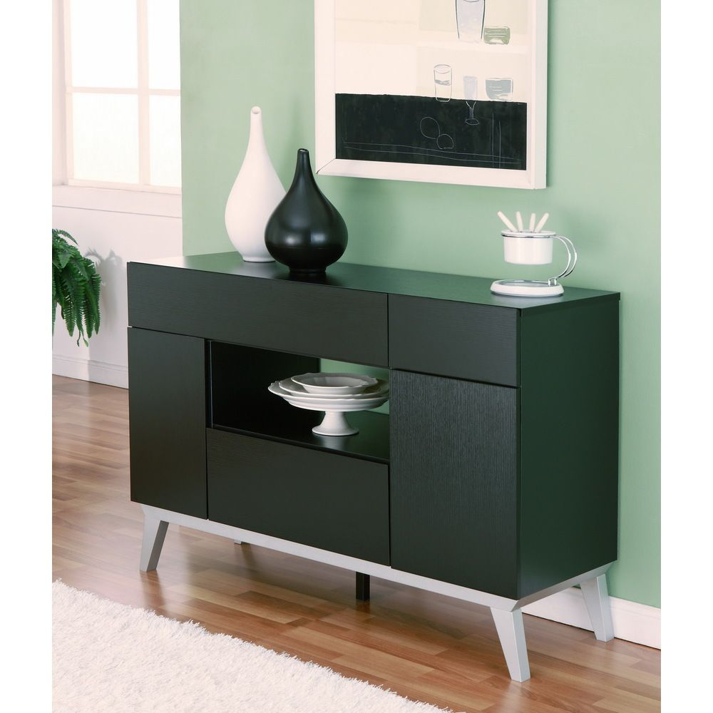 Furniture Of America Miura Modern Multi Storage Black Buffet For Contemporary Multi Storage Dining Buffets (View 23 of 30)