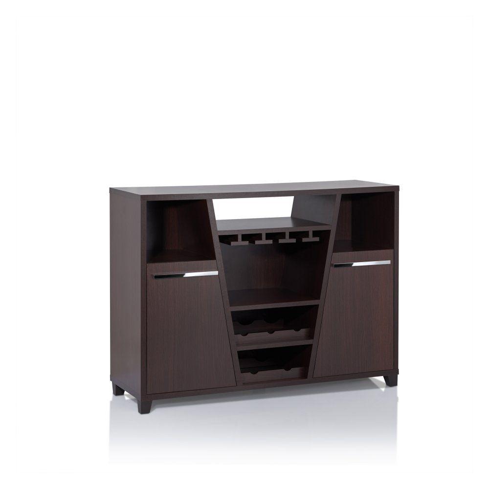 Furniture Of America Romon Espresso Modern Multi Storage Dining Server, Deep Regarding Contemporary Multi Storage Dining Buffets (View 24 of 30)