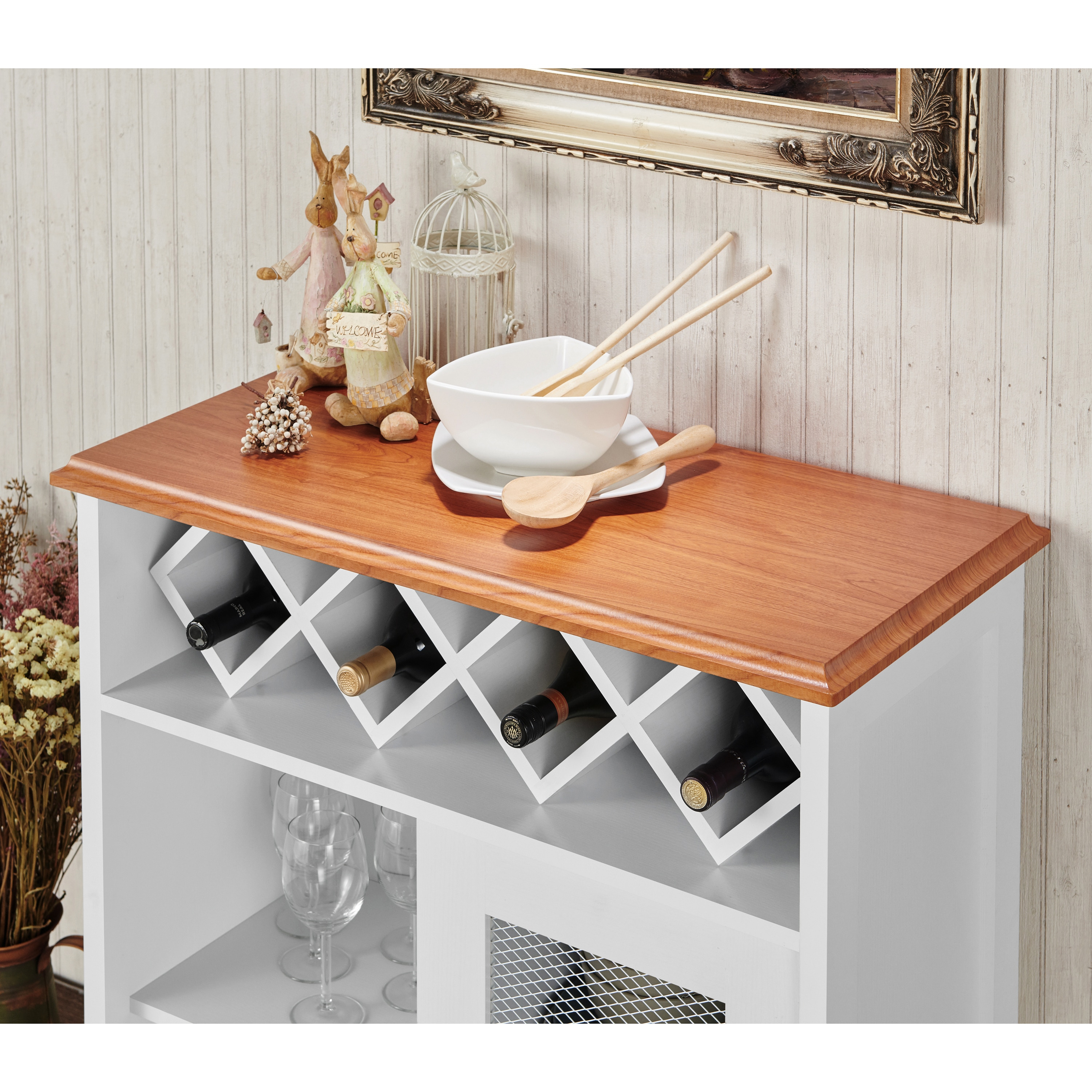 Furniture Of America Saucedo Rustic White Buffet With Wine Rack – N/a With Regard To Saucedo Rustic White Buffets (View 10 of 30)