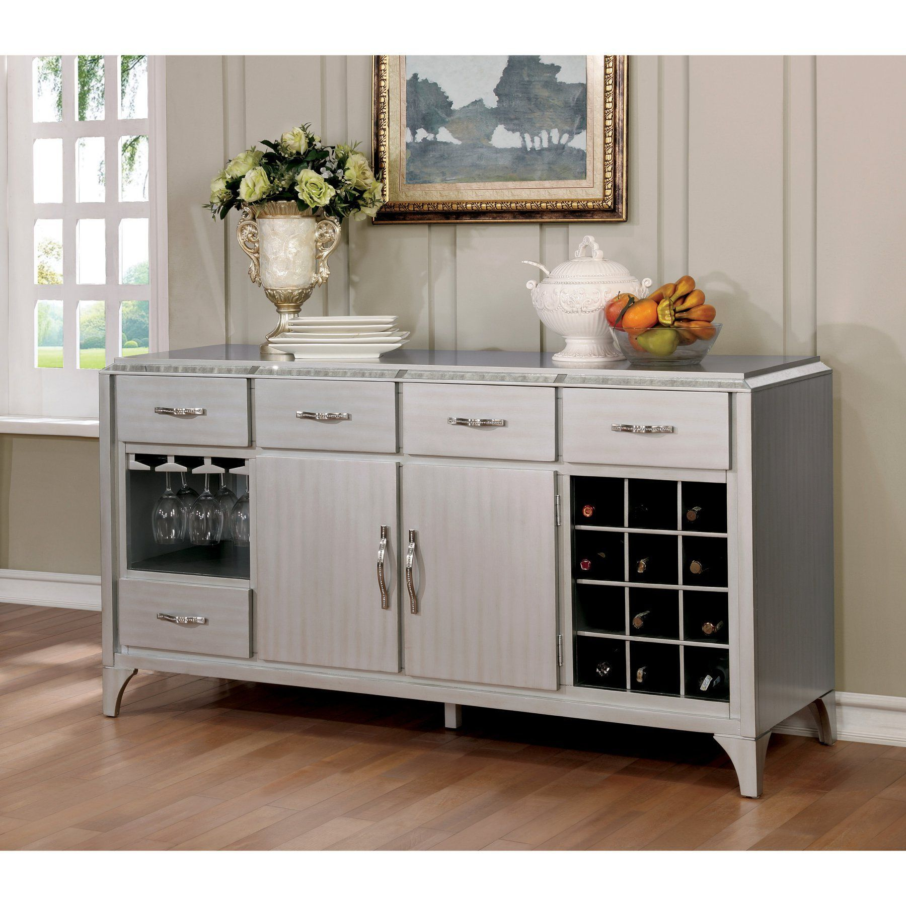 Furniture Of America Telina Contemporary Antique Mirror With Contemporary Multi Storage Dining Buffets (View 25 of 30)