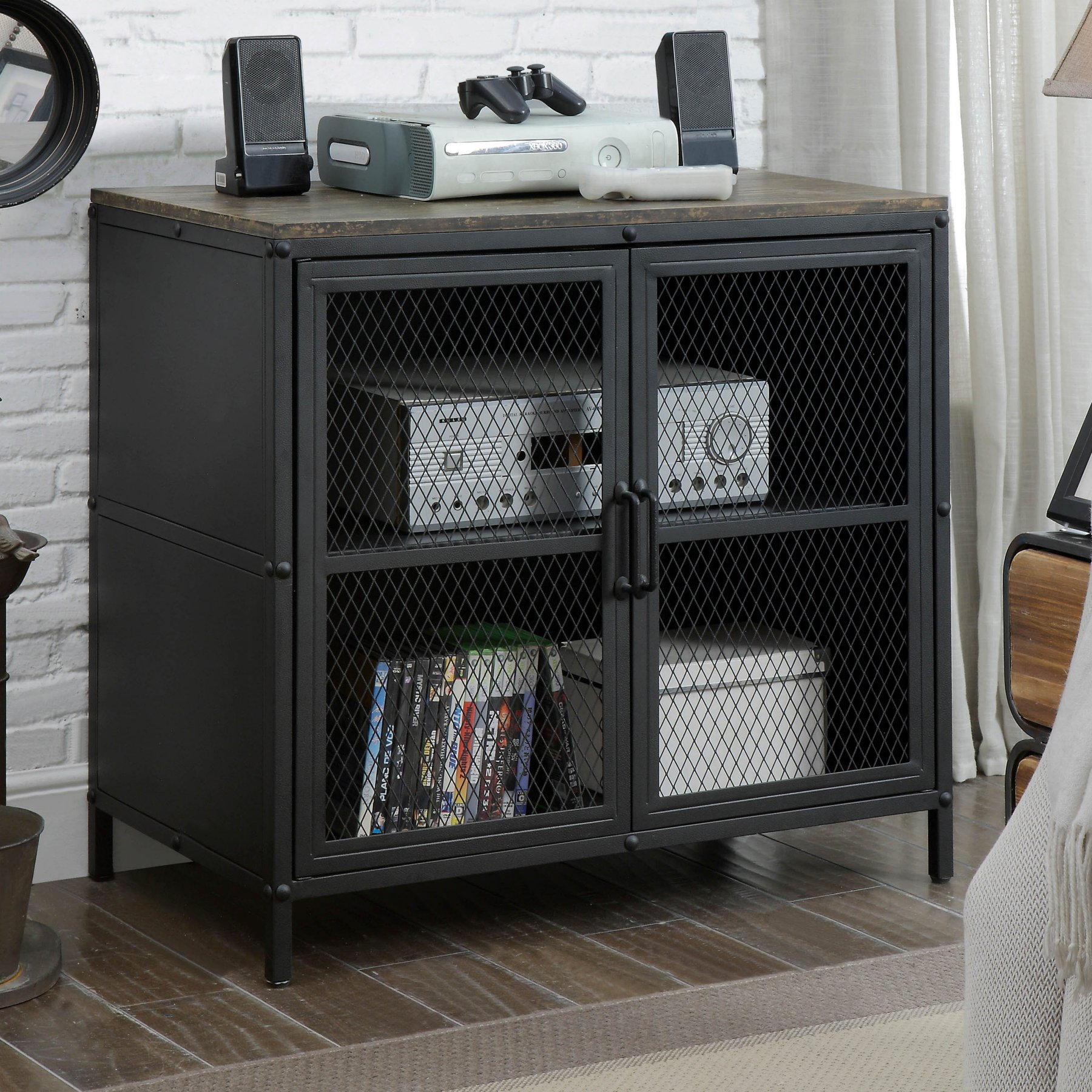 Furniture Of America Travola Tv Stand With Mesh Doors – Sand With Casolino Sideboards (View 11 of 30)