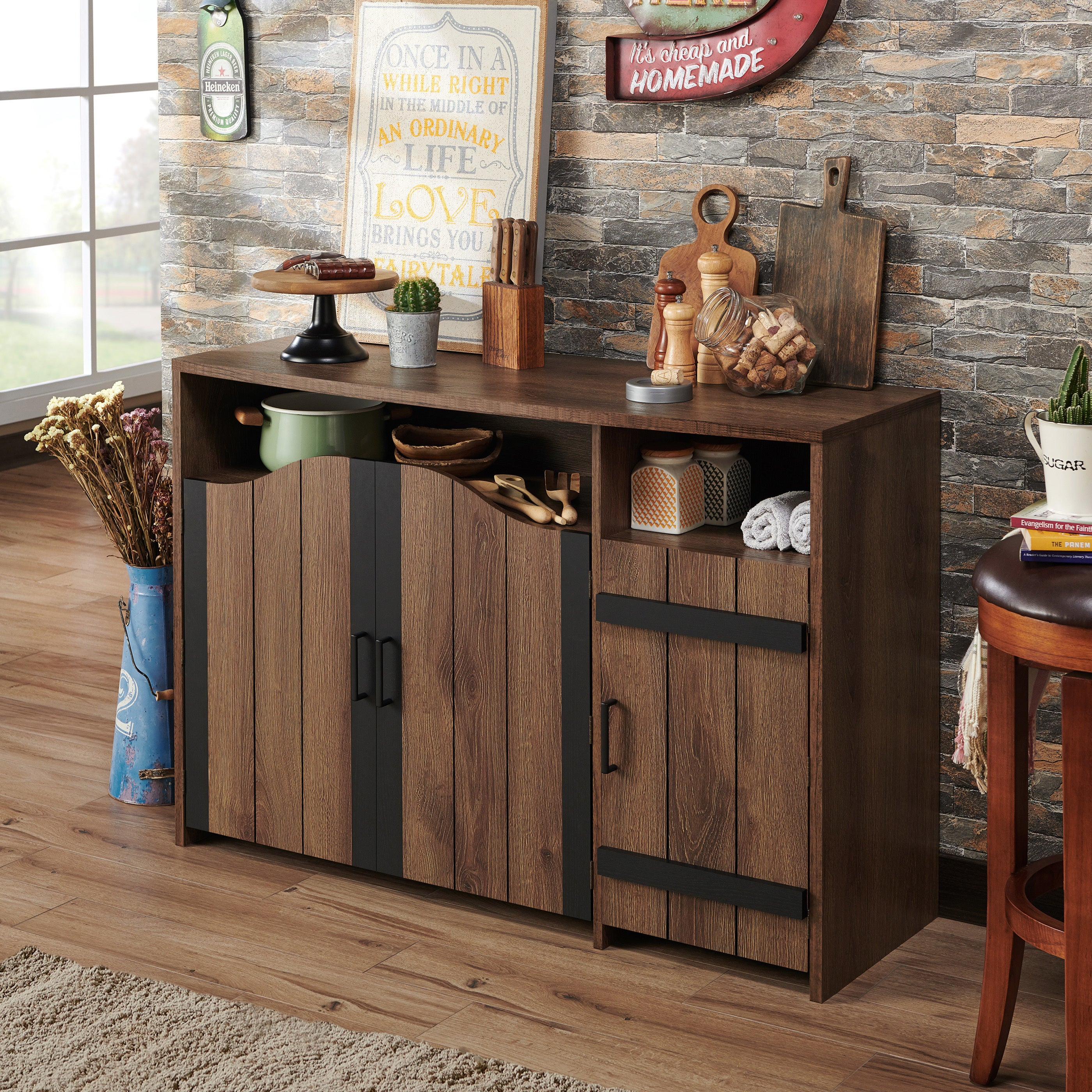 Furniture Of America Trippe Rustic Country Walnut 47 Inch Buffet Server With Rustic Walnut Buffets (View 13 of 30)