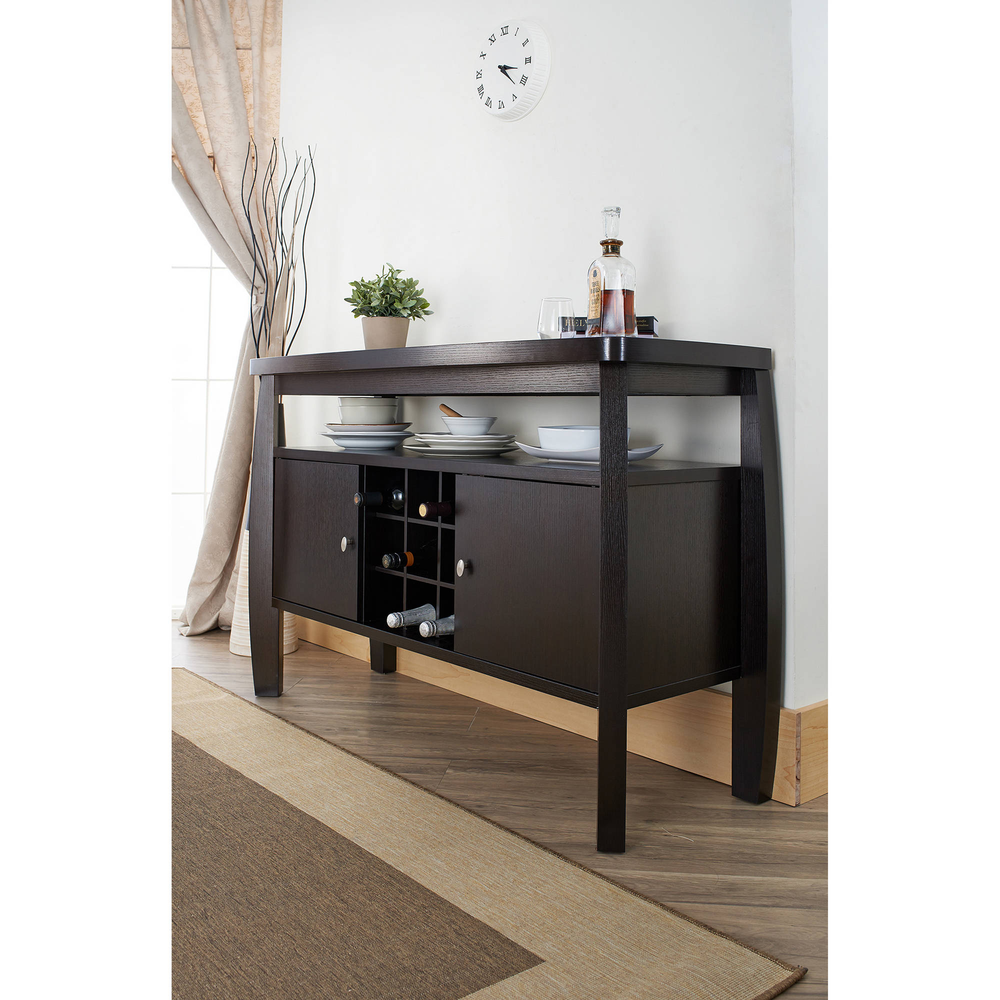 Furniture Of America Vera Contemporary Multi Storage Buffet Table, Espresso Intended For Contemporary Espresso 2 Cabinet Dining Buffets (View 13 of 30)