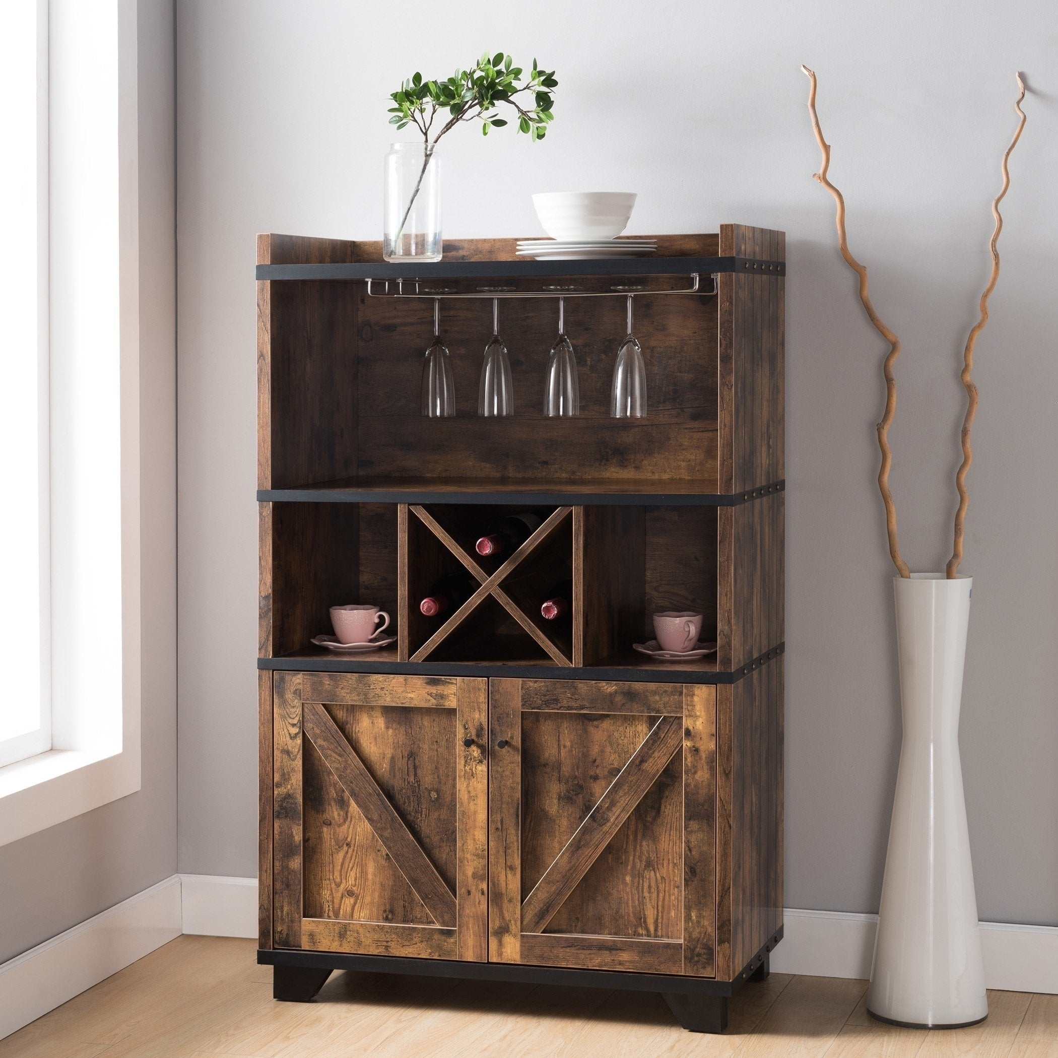 Furniture Of America Wesleyan Rustic Farmhouse Wine Cabinet Buffet for Rustic Walnut Dining Buffets (Image 17 of 30)