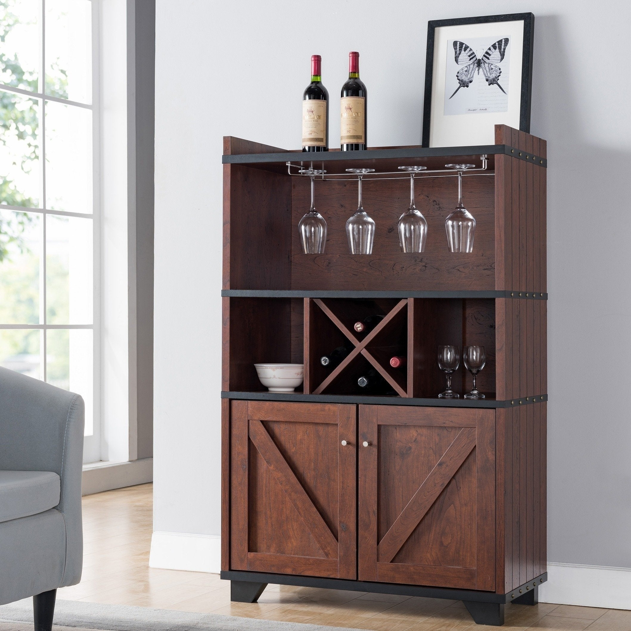 Furniture Of America Wesleyan Rustic Farmhouse Wine Cabinet Buffet Regarding Wooden Buffets With Two Side Door Storage Cabinets And Stemware Rack (View 2 of 30)
