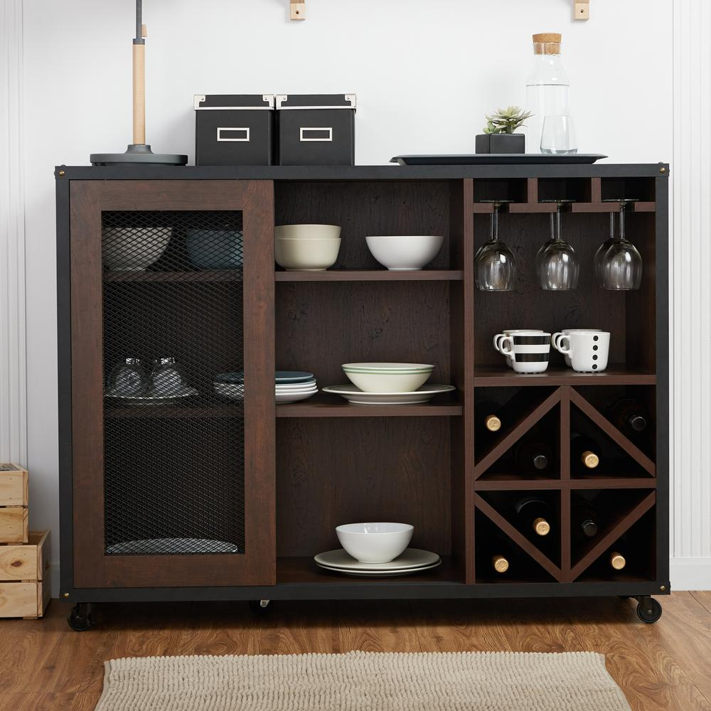 Furniture Of America Winston Walnut Buffet Hfw-15700C6 - The within Industrial Cement-Like Multi-Storage Dining Buffets (Image 19 of 30)