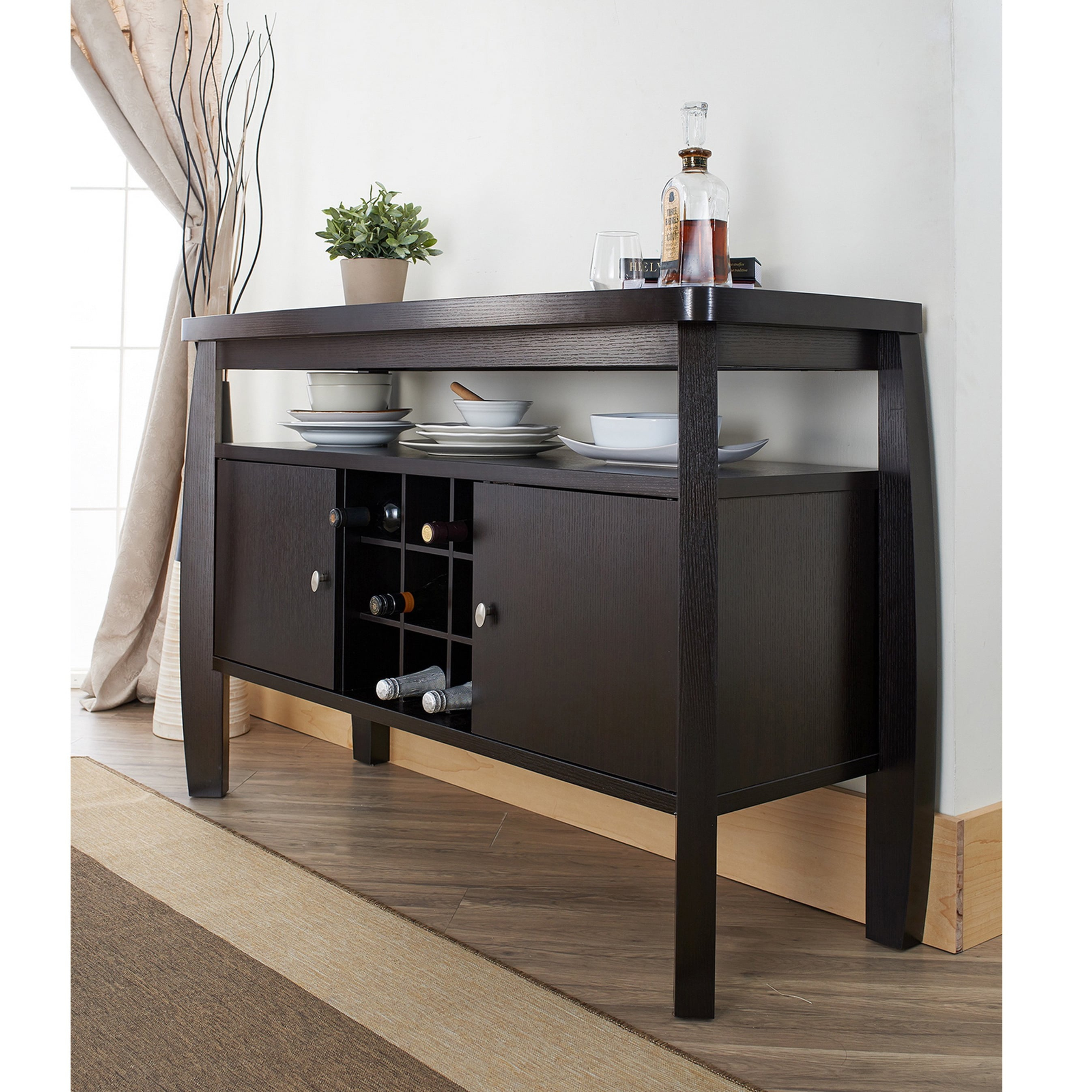 Furniture Of America Zarina Cappuccino Buffet Table (Dark Throughout Contemporary Cappuccino Dining Buffets (View 19 of 30)