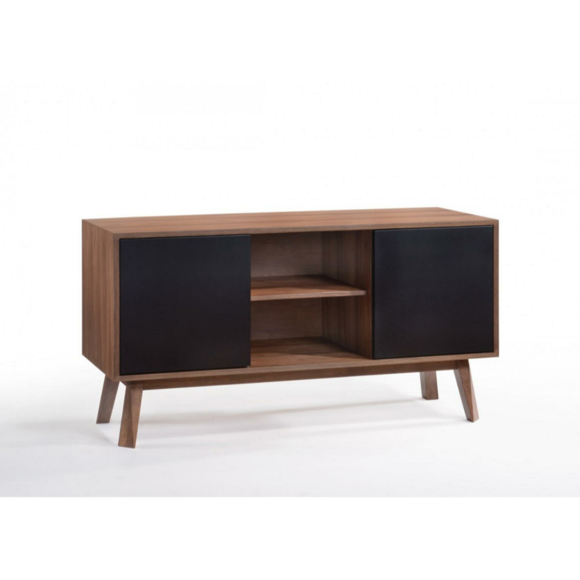 Gamboa Wooden Server Buffet Table In Contemporary Wooden Buffets With Four Open Compartments And Metal Tapered Legs (View 12 of 30)
