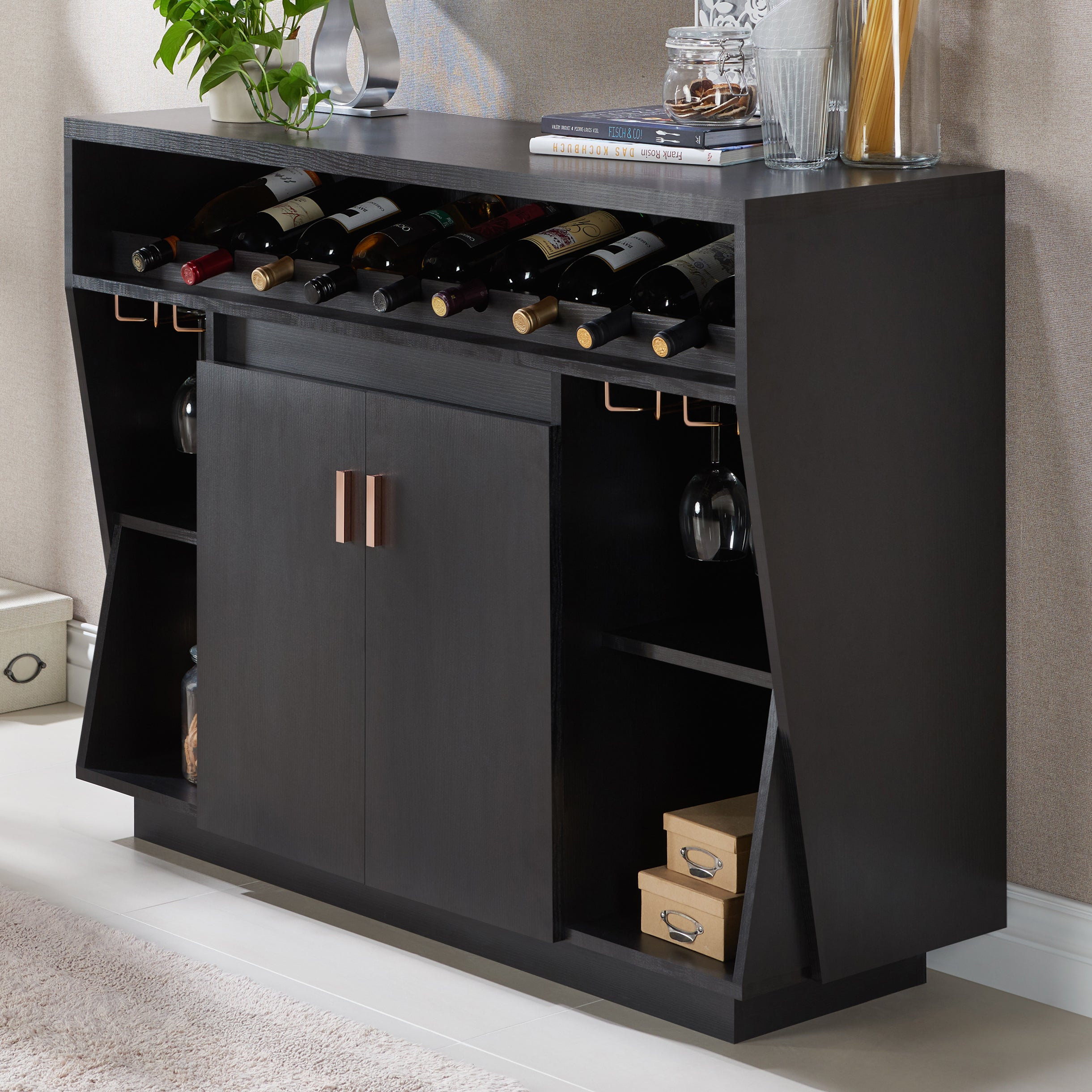 Gergich Contemporary 47 Inch Black Dining Buffetfoa Within Contemporary Cappuccino Dining Buffets (View 20 of 30)