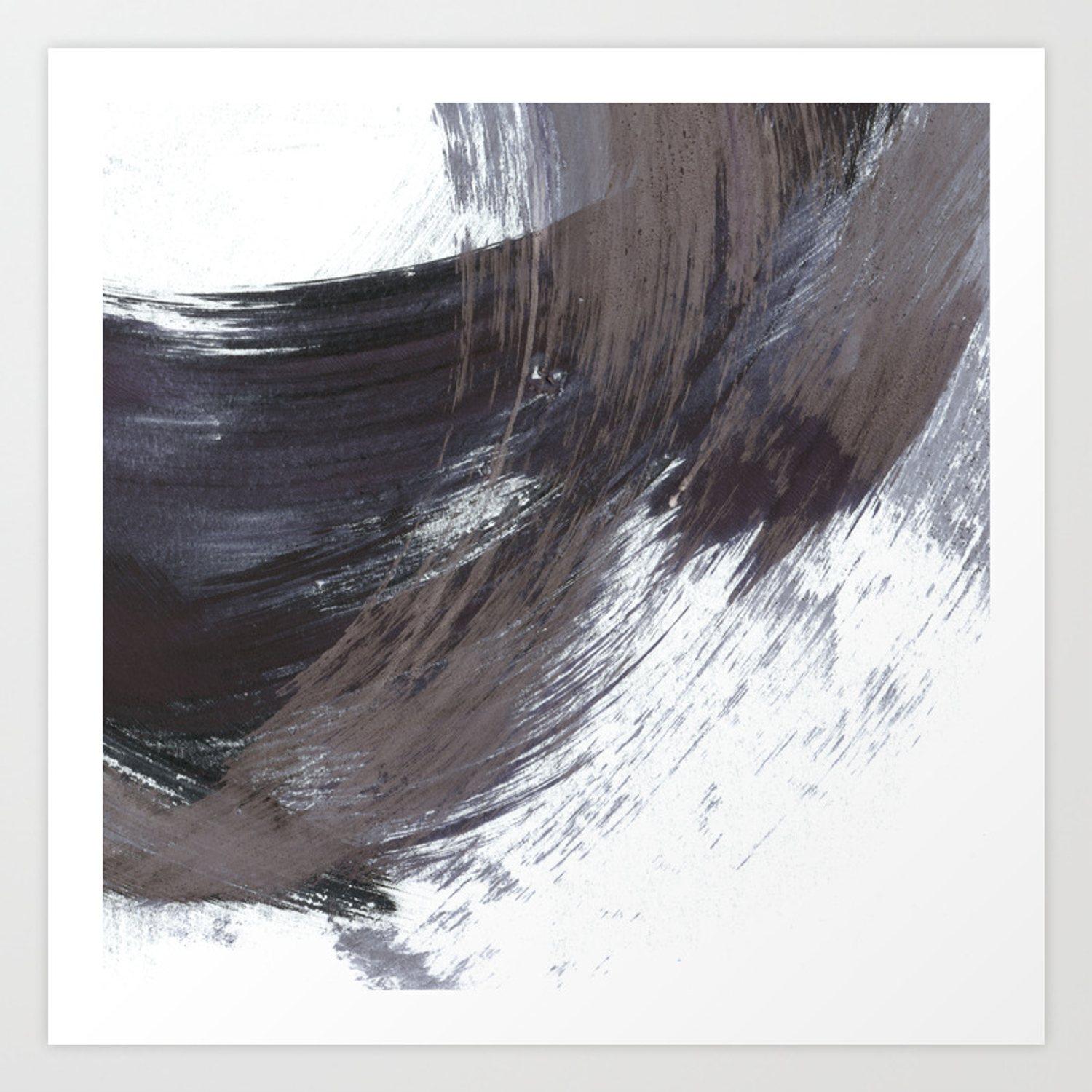 Gestural Brush Strokes Painting In Navy Blue And Grey Art Print Regarding Strokes And Waves Credenzas (View 15 of 30)