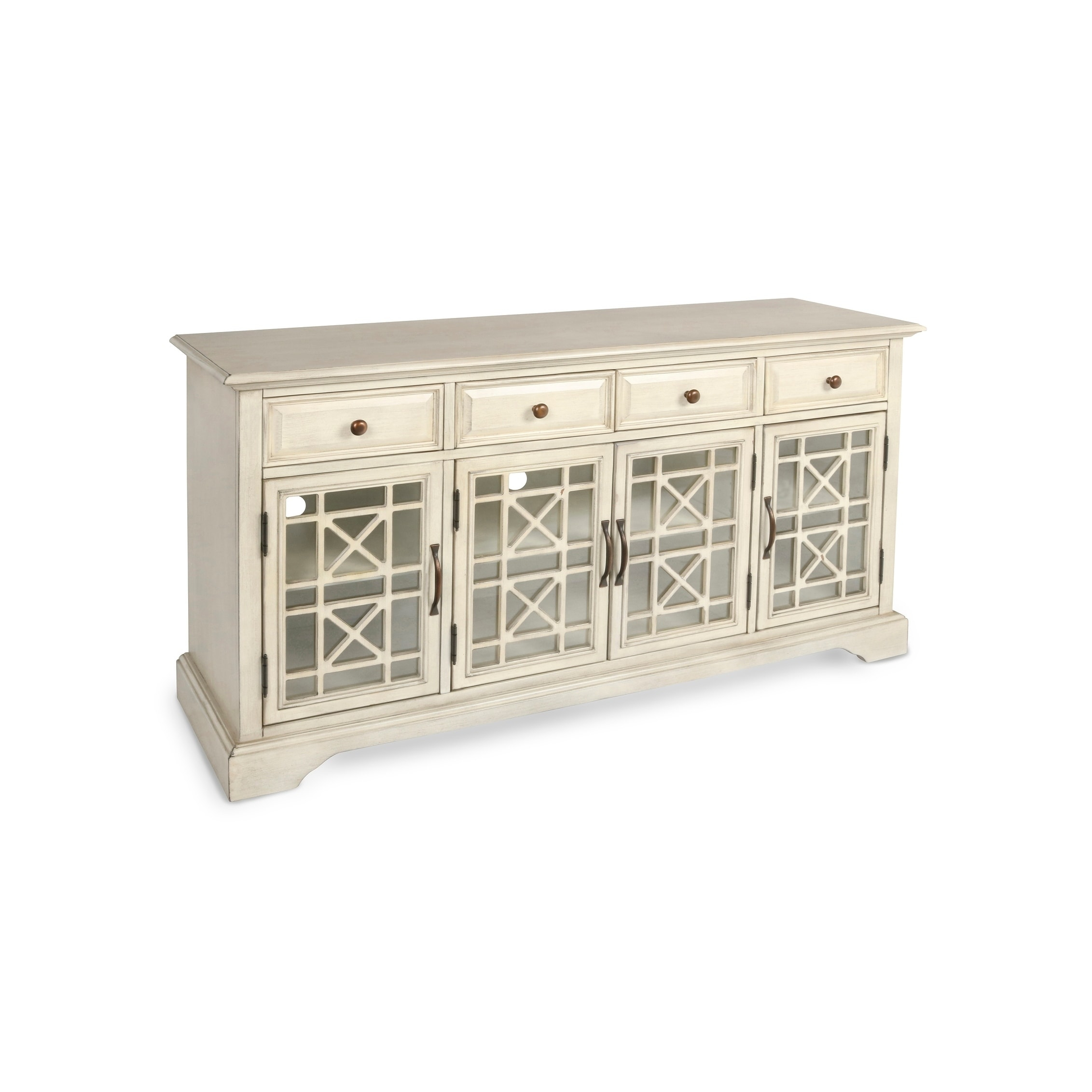 Gilbert Antique White 4 Drawer 4 Door Accent Credenza, Clear Intended For Cambrai Sideboards (View 12 of 30)