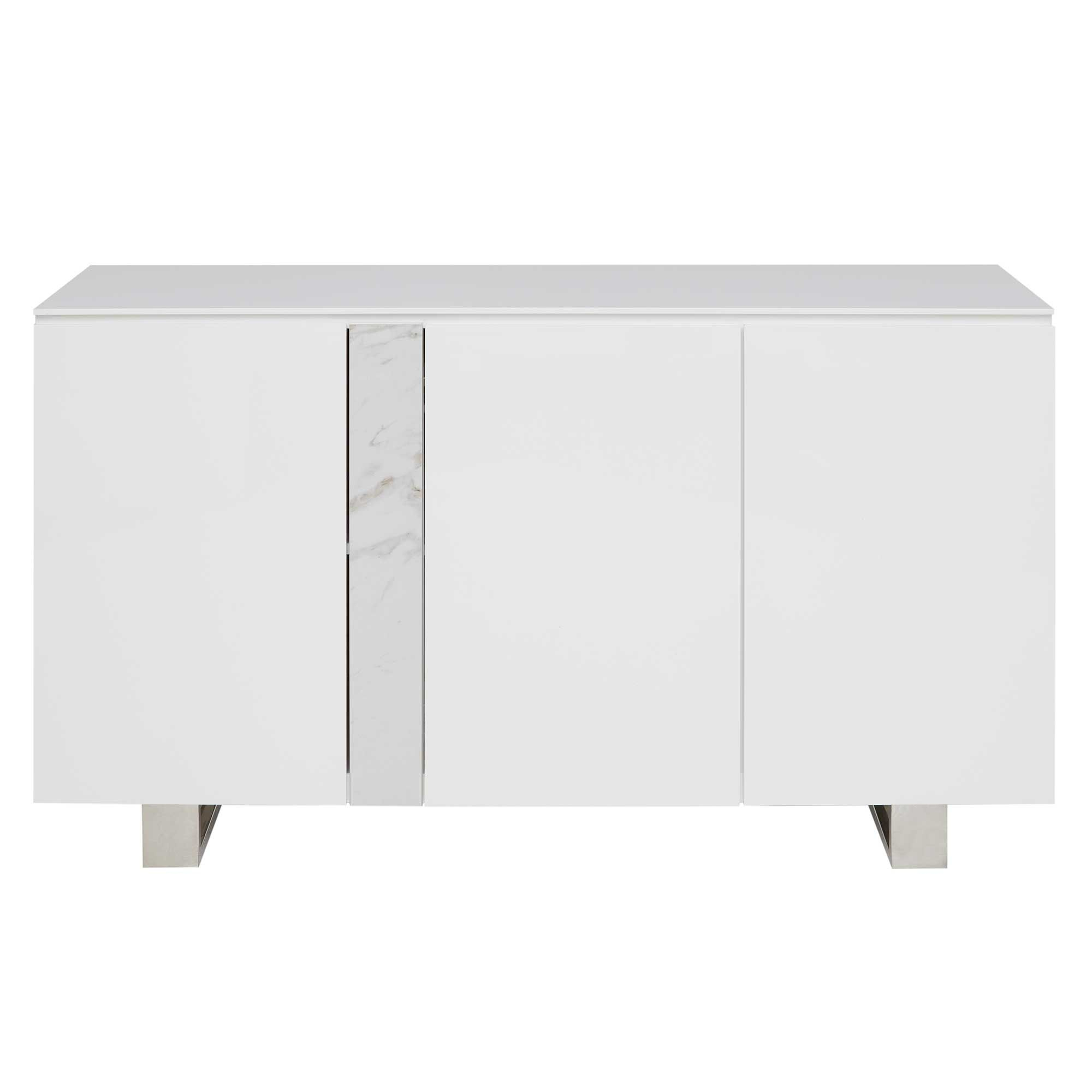 Ginostra 3 Door Sideboard, Gloss White | Sideboards | Dining throughout Thite Sideboards (Image 11 of 30)