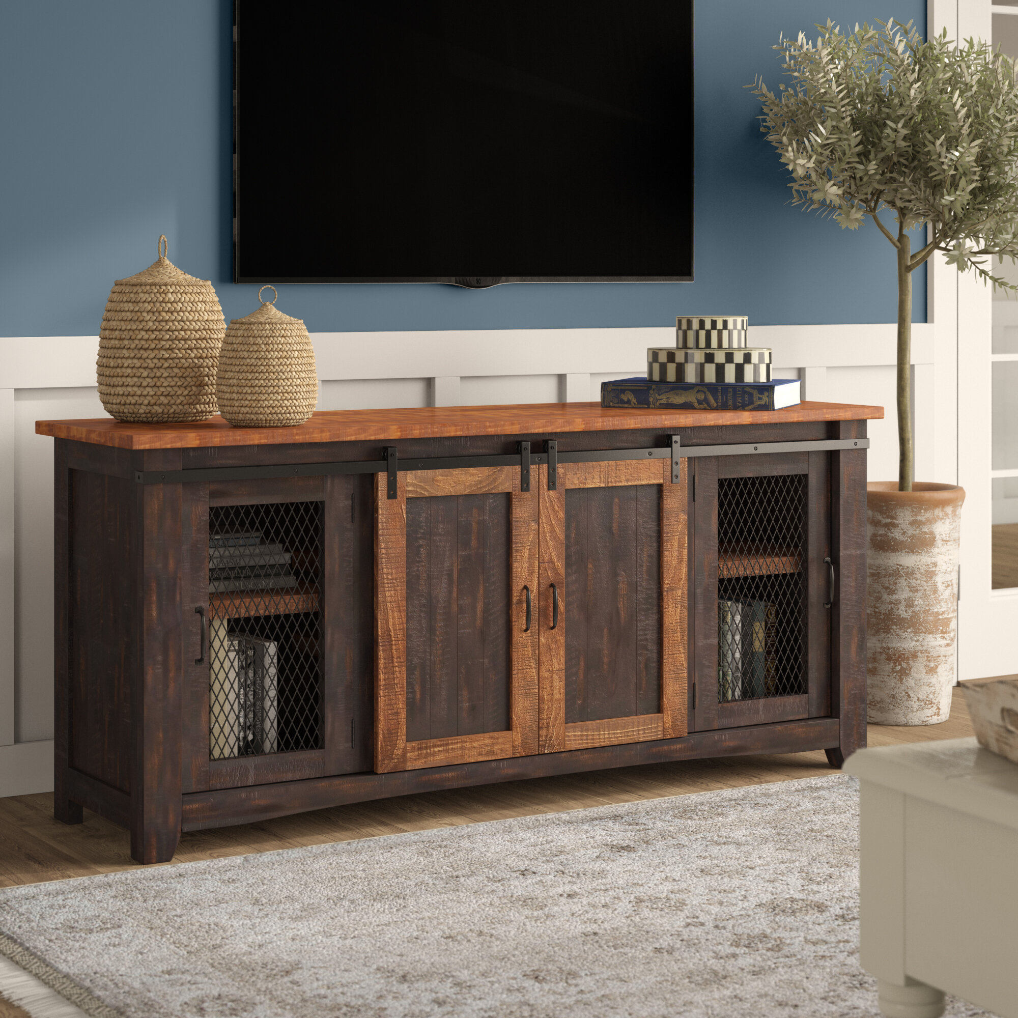 "Gracie Oaks Belen Tv Stand For Tvs Up To 70"" with Colefax Vintage Tv Stands for Tvs Up to 78"" (Image 24 of 30)"