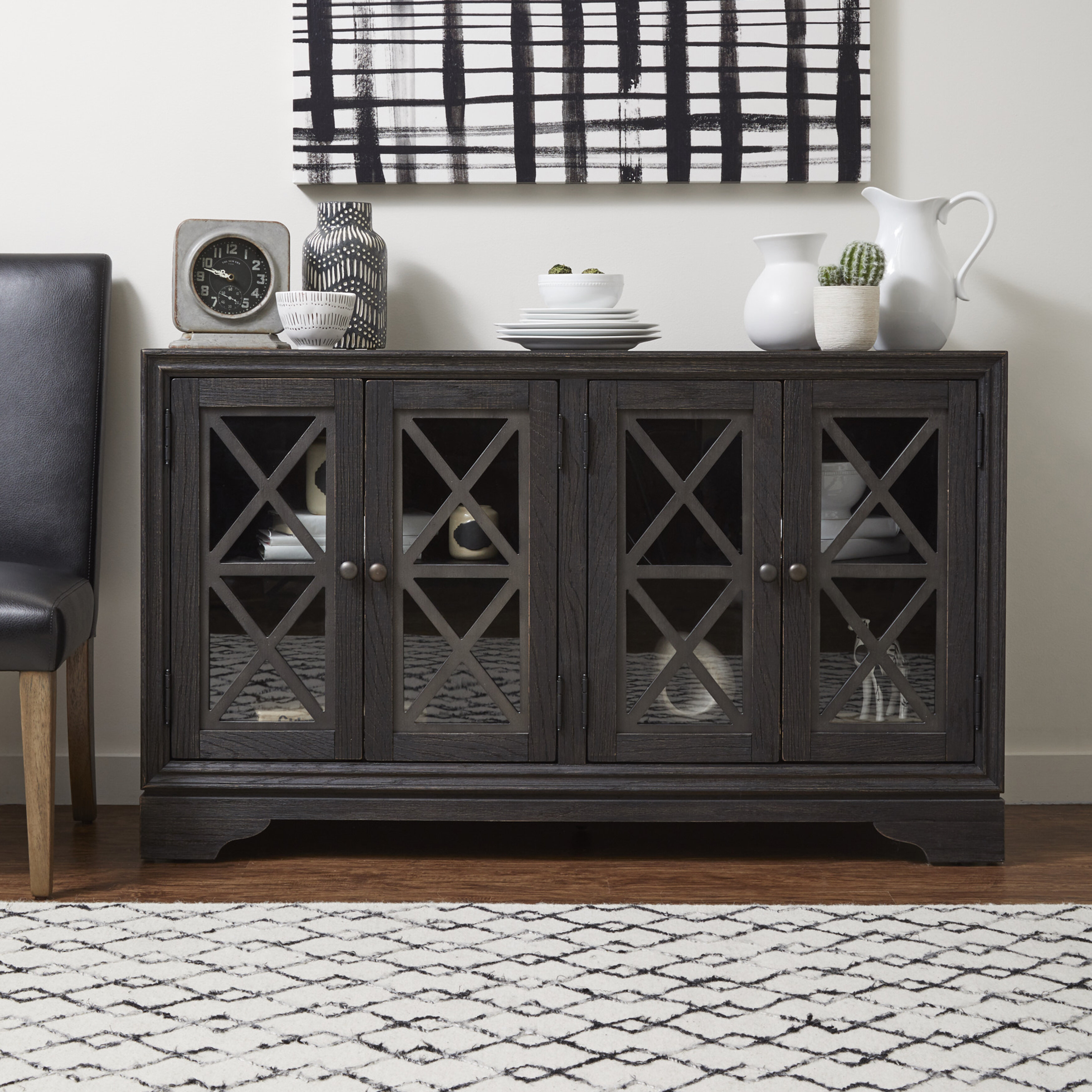 Gracie Oaks Halcomb Rustic Barn-Inspired 4 Door Sideboard with Jacklyn 3 Door Sideboards (Image 10 of 30)