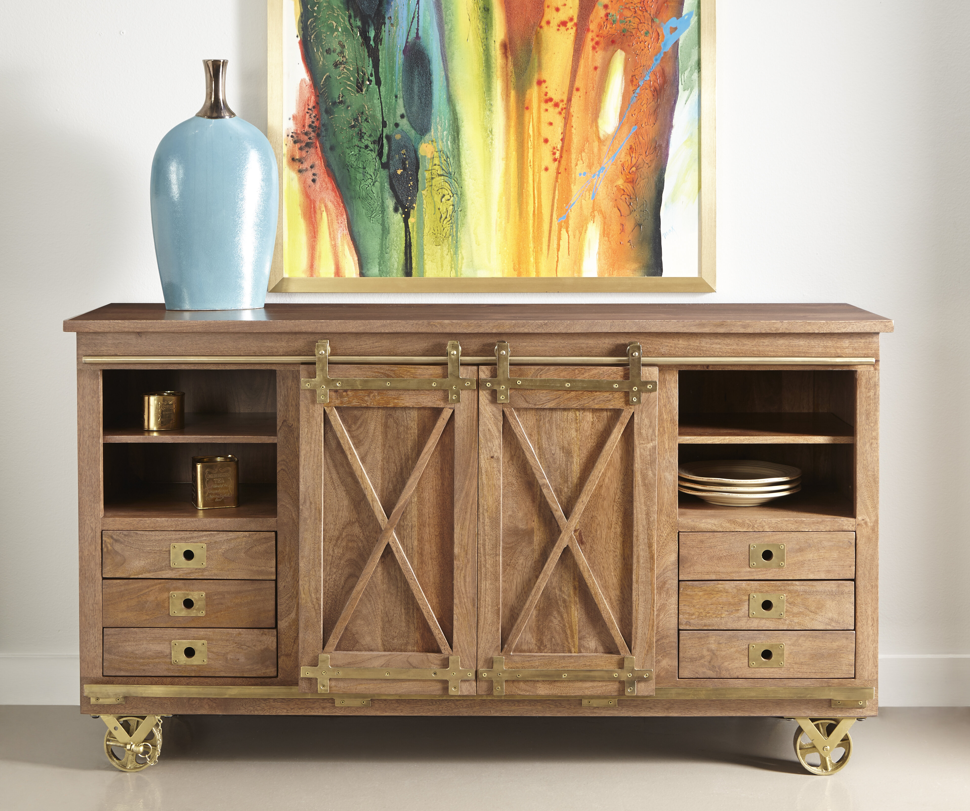 Guffey 2 Sliding Door 6 Drawer Media Credenza Intended For Chicoree Charlena Sideboards (View 11 of 30)