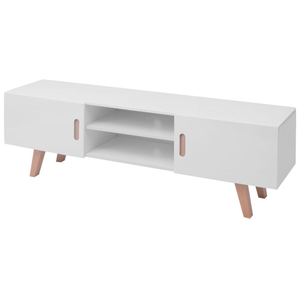 H4home High Gloss White Large Tv Stand Mid Century Modern Intended For Mid Century Modern Glossy White Buffets (View 20 of 30)