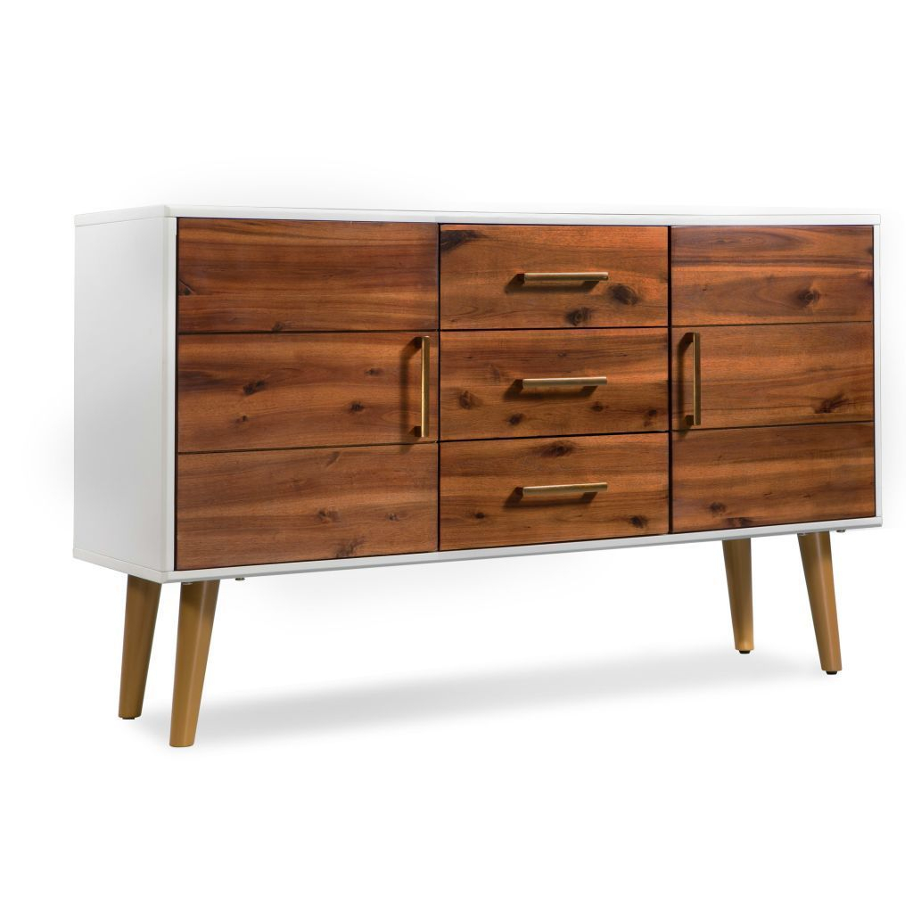 H4home Mid Century Modern Sideboard Cabinet Solid Acacia Wood Scandinavian Style Within Mid Century Modern Scandinavian Style Buffets (View 4 of 30)