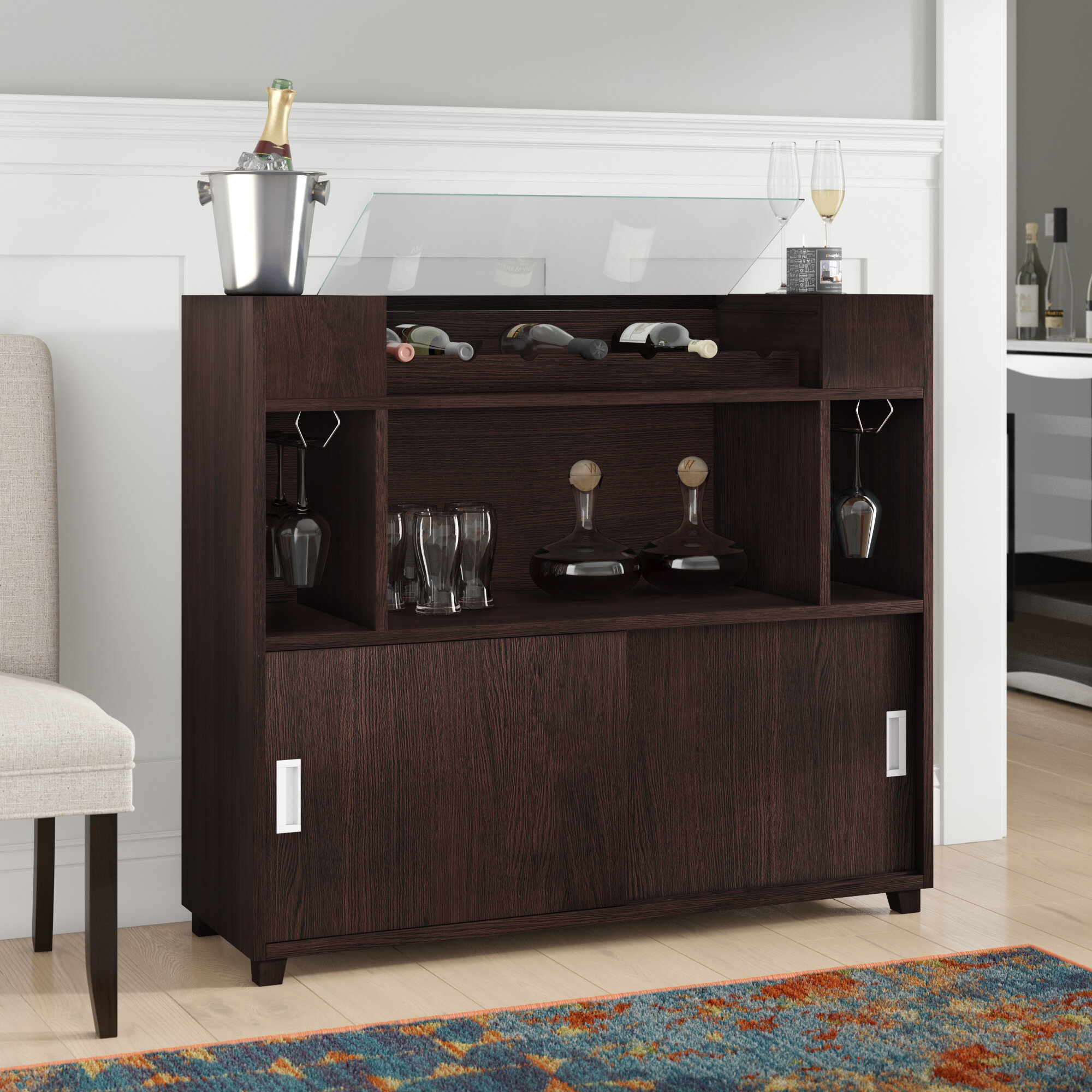 Hailee Buffet Table Throughout Wooden Buffets With Two Side Door Storage Cabinets And Stemware Rack (View 8 of 30)