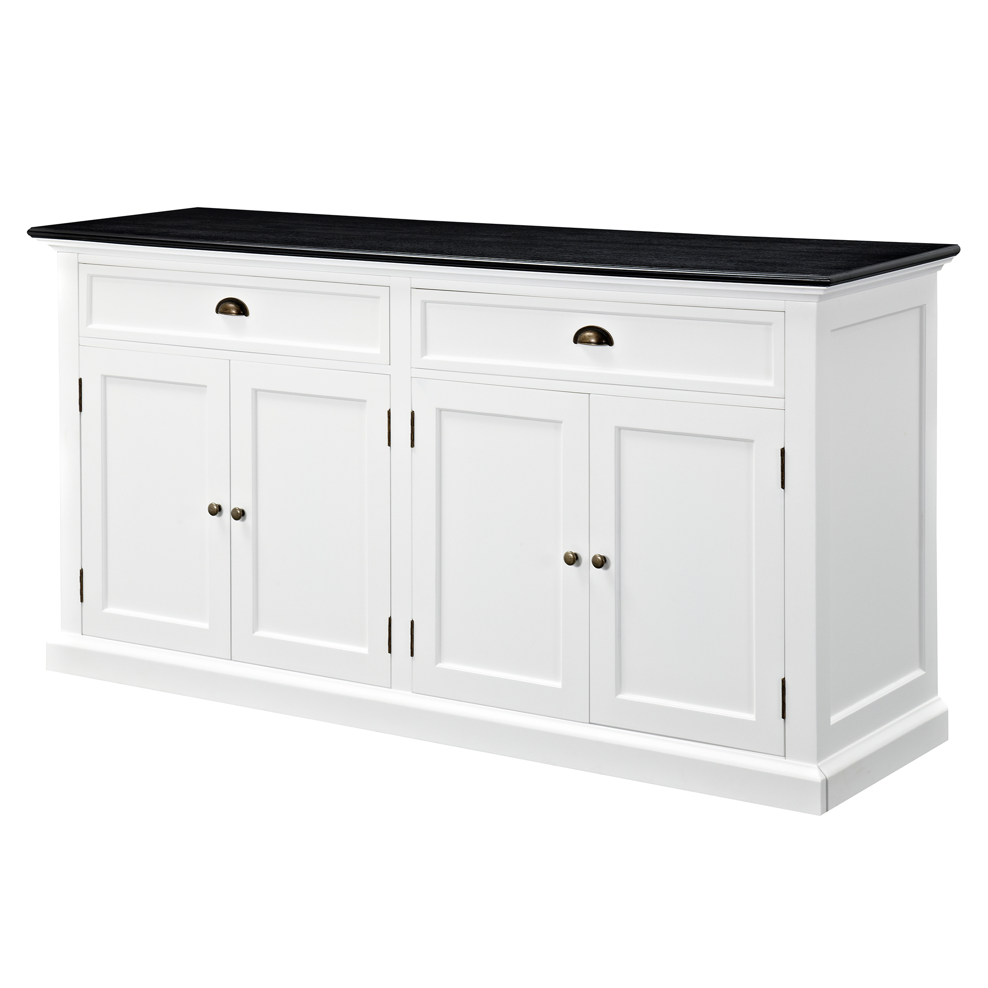 Hamptons Large Sideboard Buffet - Black Top pertaining to Thite Sideboards (Image 12 of 30)