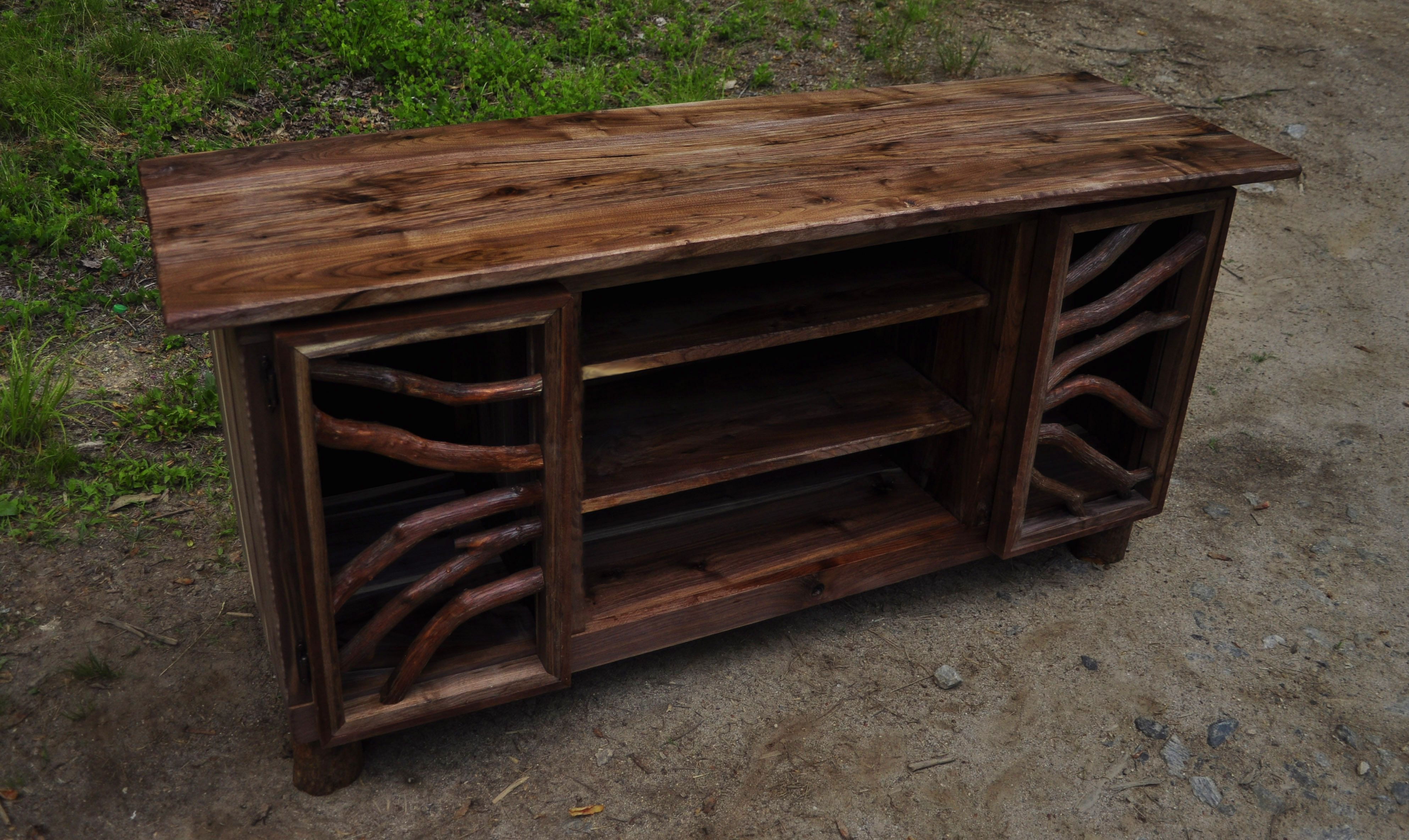 Hand Made Rustic Walnut Wood Tv Media Entertainment Center for Rustic Walnut Dining Buffets (Image 18 of 30)