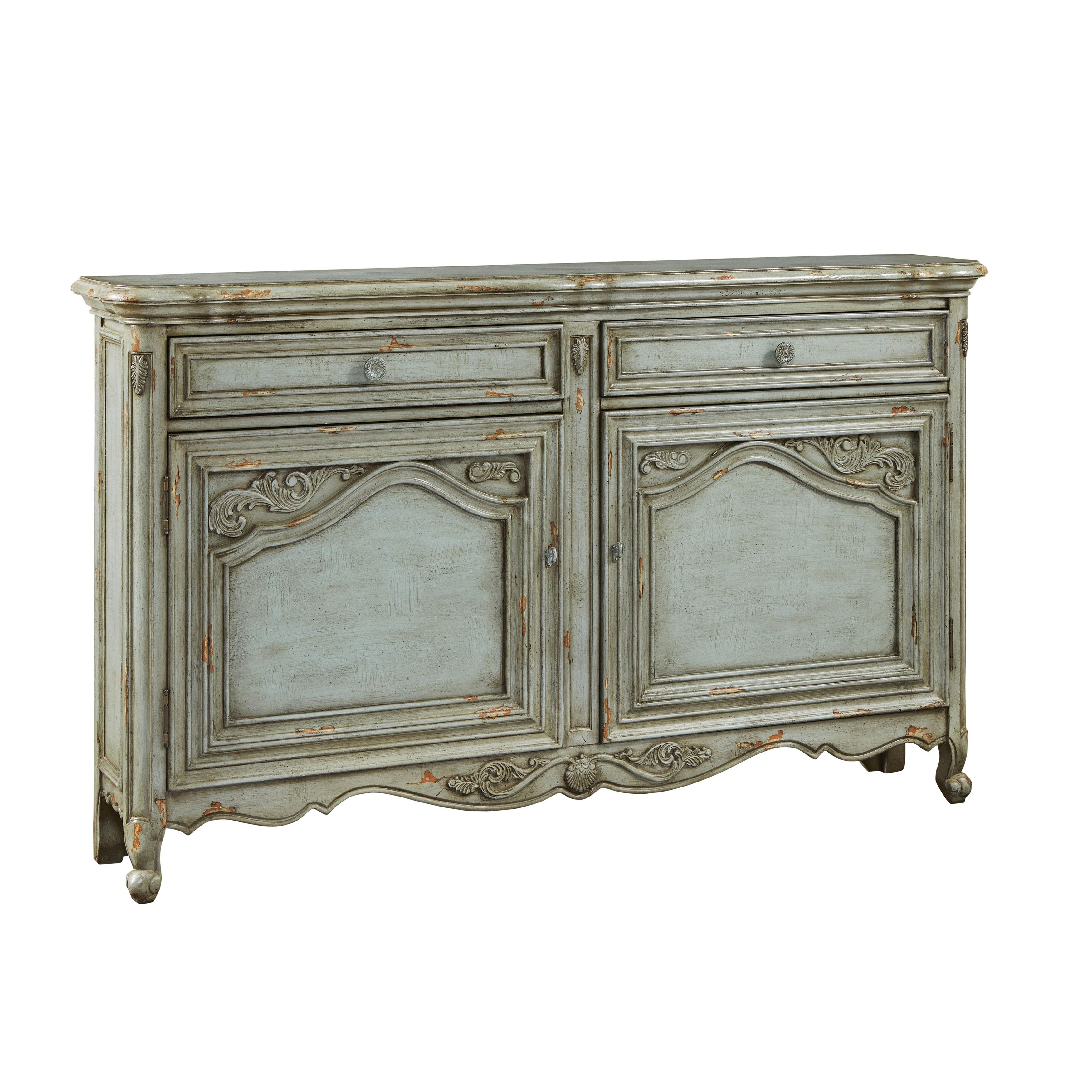 Hand Painted Distressed Green/ Credenza | Products with regard to Ilyan Traditional Wood Sideboards (Image 12 of 30)