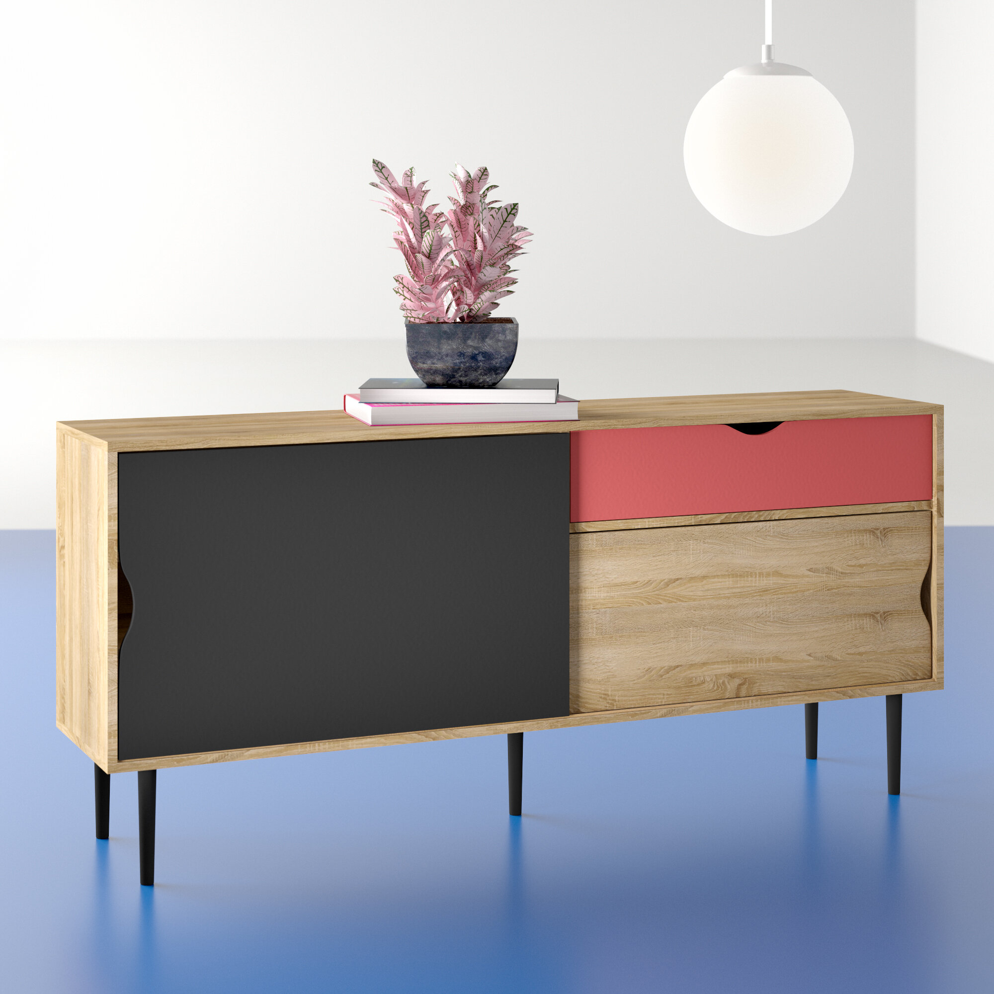Hashtag Home Dovray Buffet Table & Reviews | Wayfair With Regard To Mid Century Modern Glossy White Buffets (View 14 of 30)