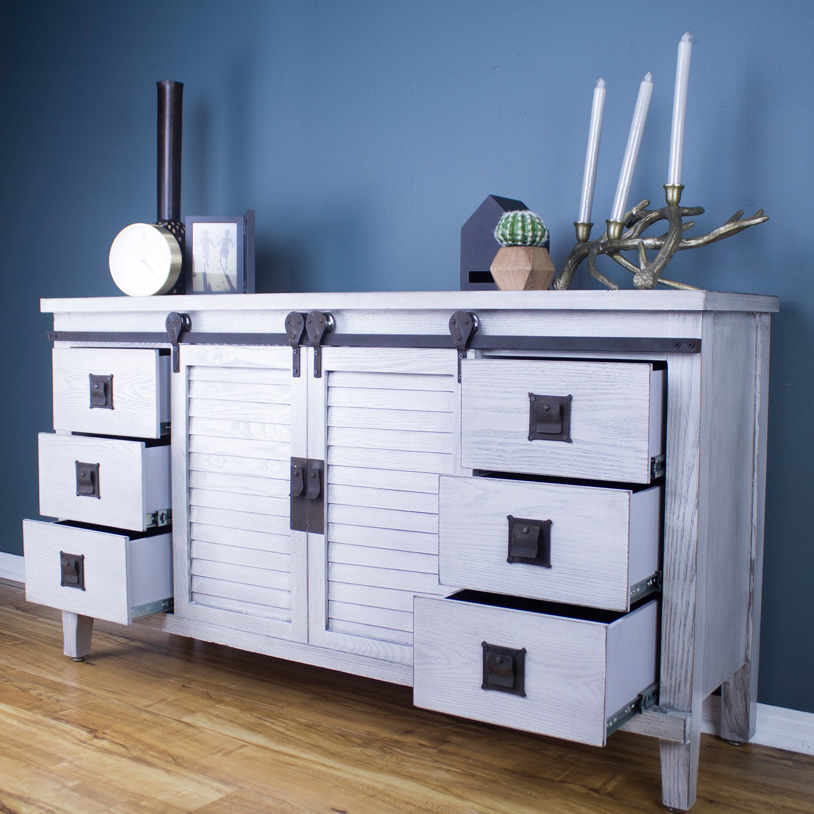 Heather Ann Creations Southport Collection 2 Door 6 Drawer Buffet Cabinet for Industrial Style 3-Drawer Buffets (Image 15 of 30)