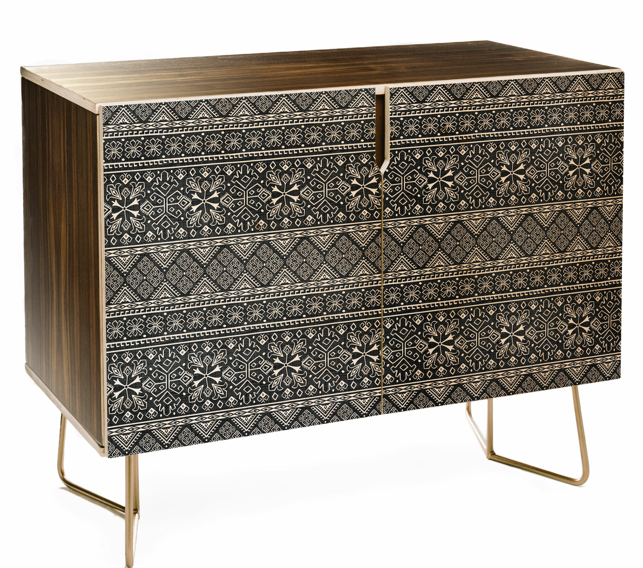 Heather Dutton Grand Bazaar Slate Linen Credenza | Allmodern for Multi Stripe Credenzas (Image 15 of 30)