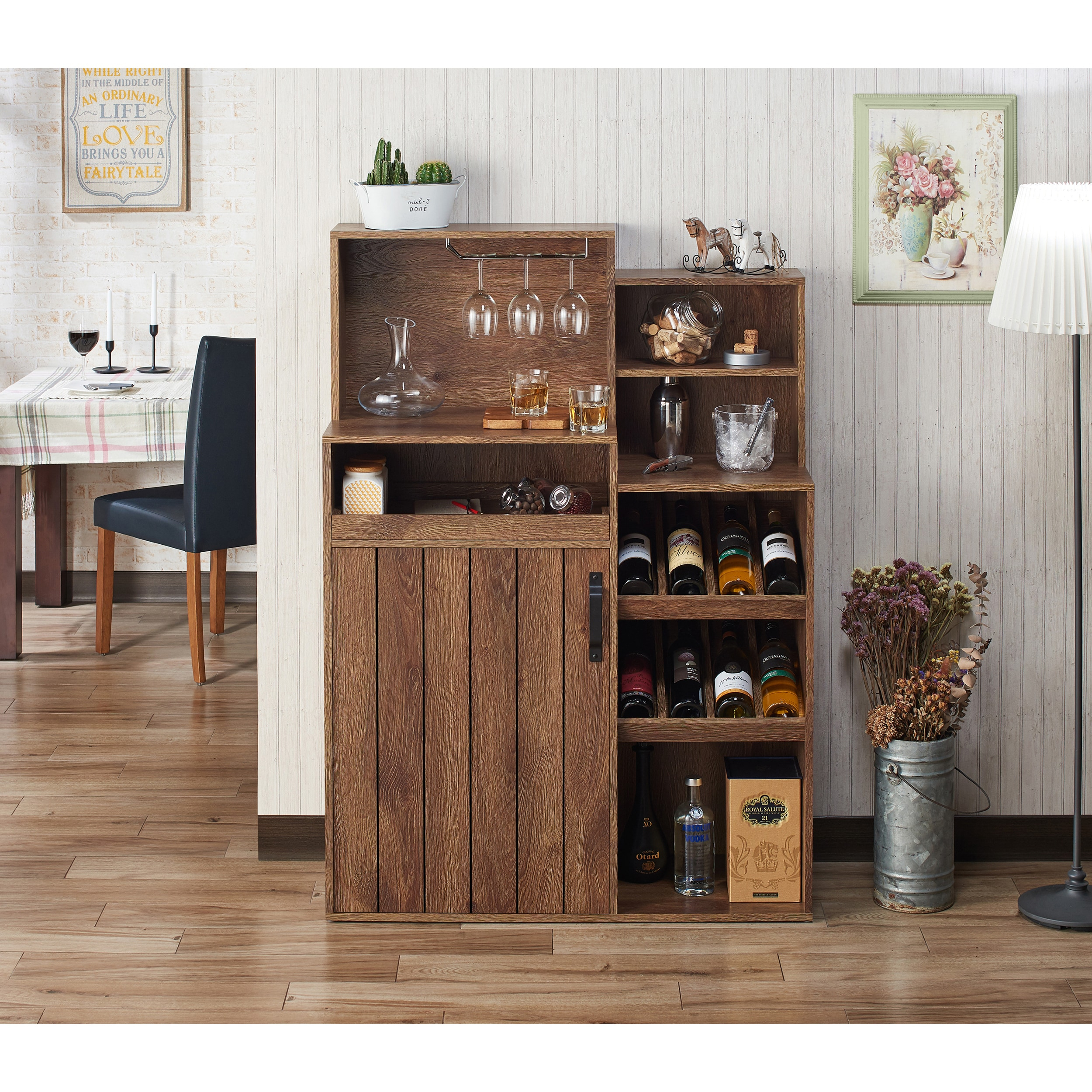 Holcomb Rustic Distressed Walnut Buffet/wine Rackfoa pertaining to Rustic Walnut Dining Buffets (Image 19 of 30)