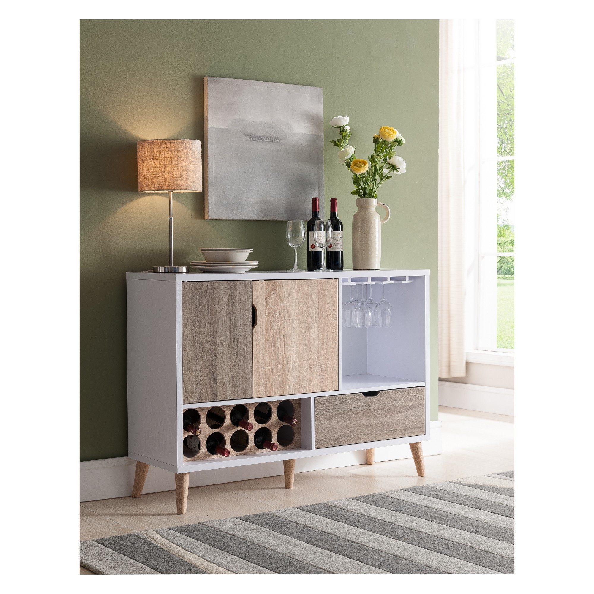 Homes: Inside + Out Hoff Contemporary Buffet Glossy White Within Mid Century Modern Glossy White Buffets (View 3 of 30)
