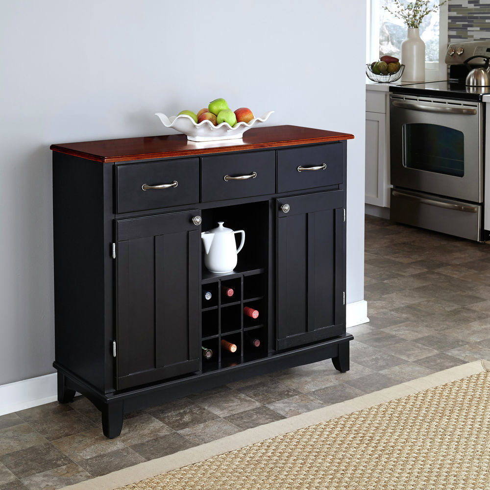 Homestyles Black Buffet Of Buffet With Cherry Wood Top Within Medium Buffets With Wood Top (View 5 of 30)