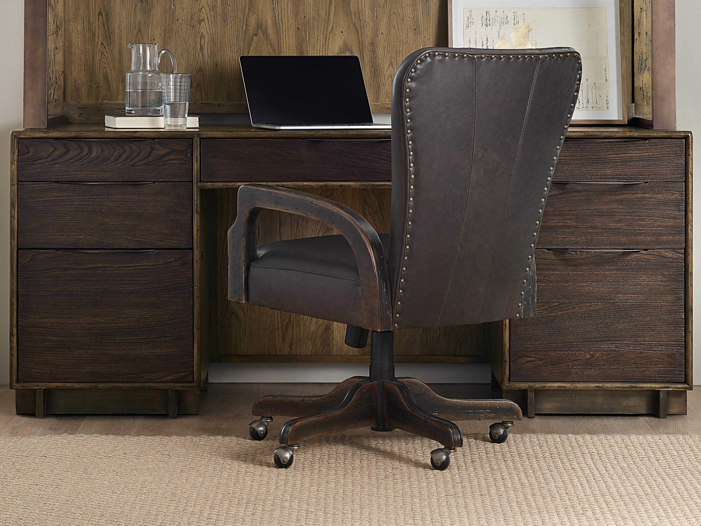 Hooker Furniture American Life – Crafted Dark Wood Credenza Desk With Copper Leaf Wood Credenzas (View 20 of 30)
