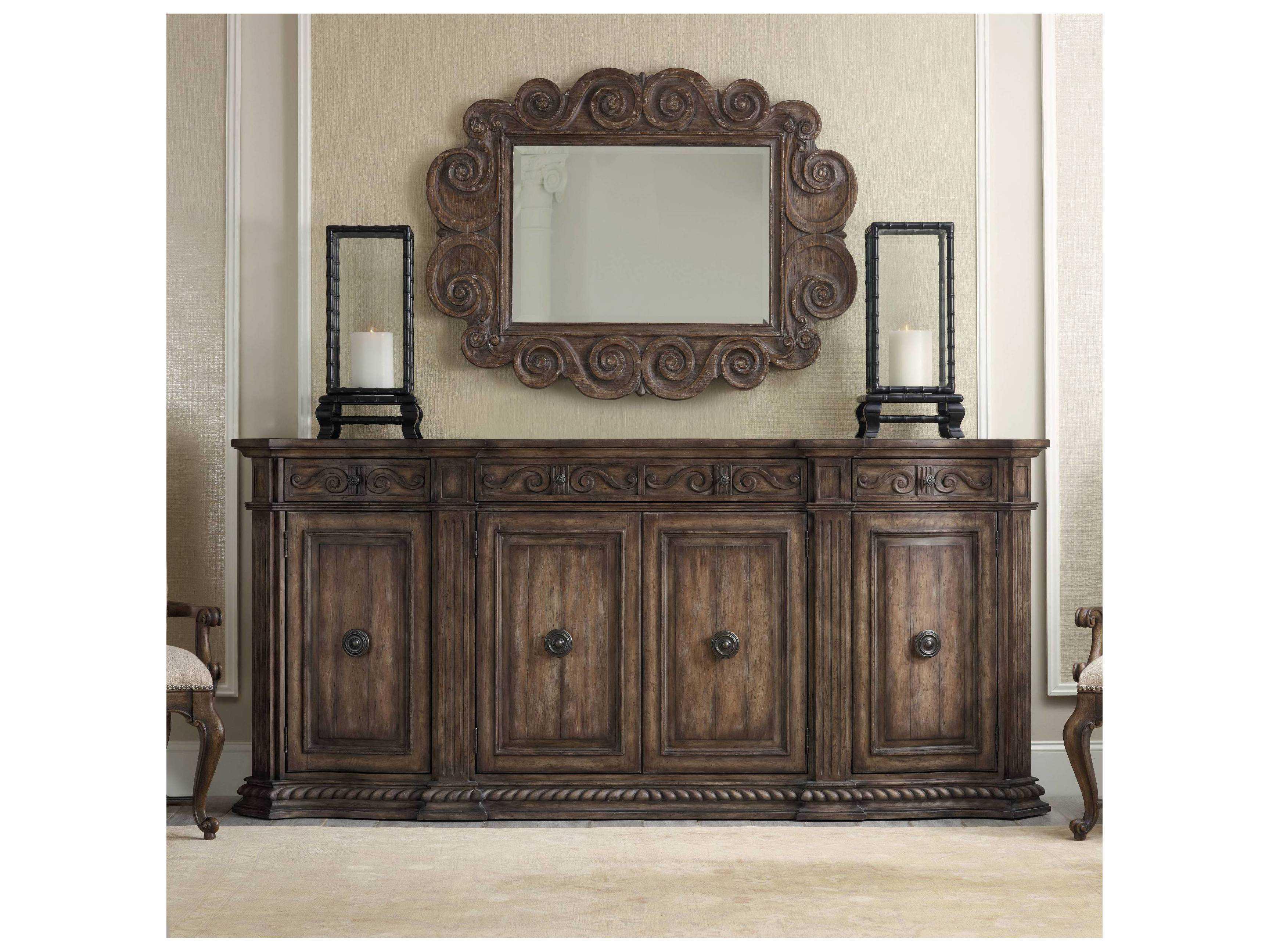 Hooker Furniture Rhapsody Rustic Walnut 96''l X 20''w Rectangular Credenza  Buffet Intended For Rustic Walnut Buffets (View 17 of 30)